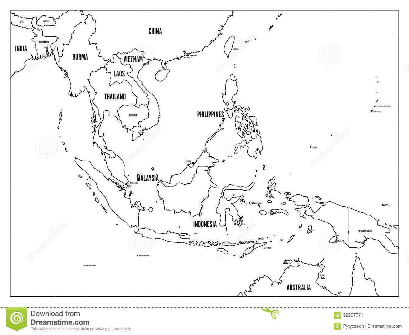 south east asia political map black outline on white background with black country name labels