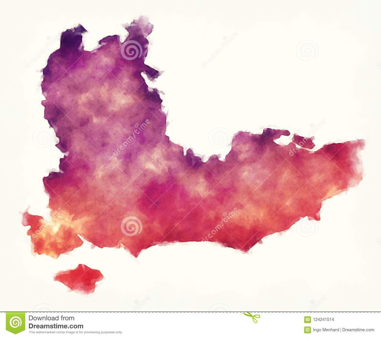 Map Of The South Of England Uk.South East England Uk Watercolor Map In Front Of A White Background