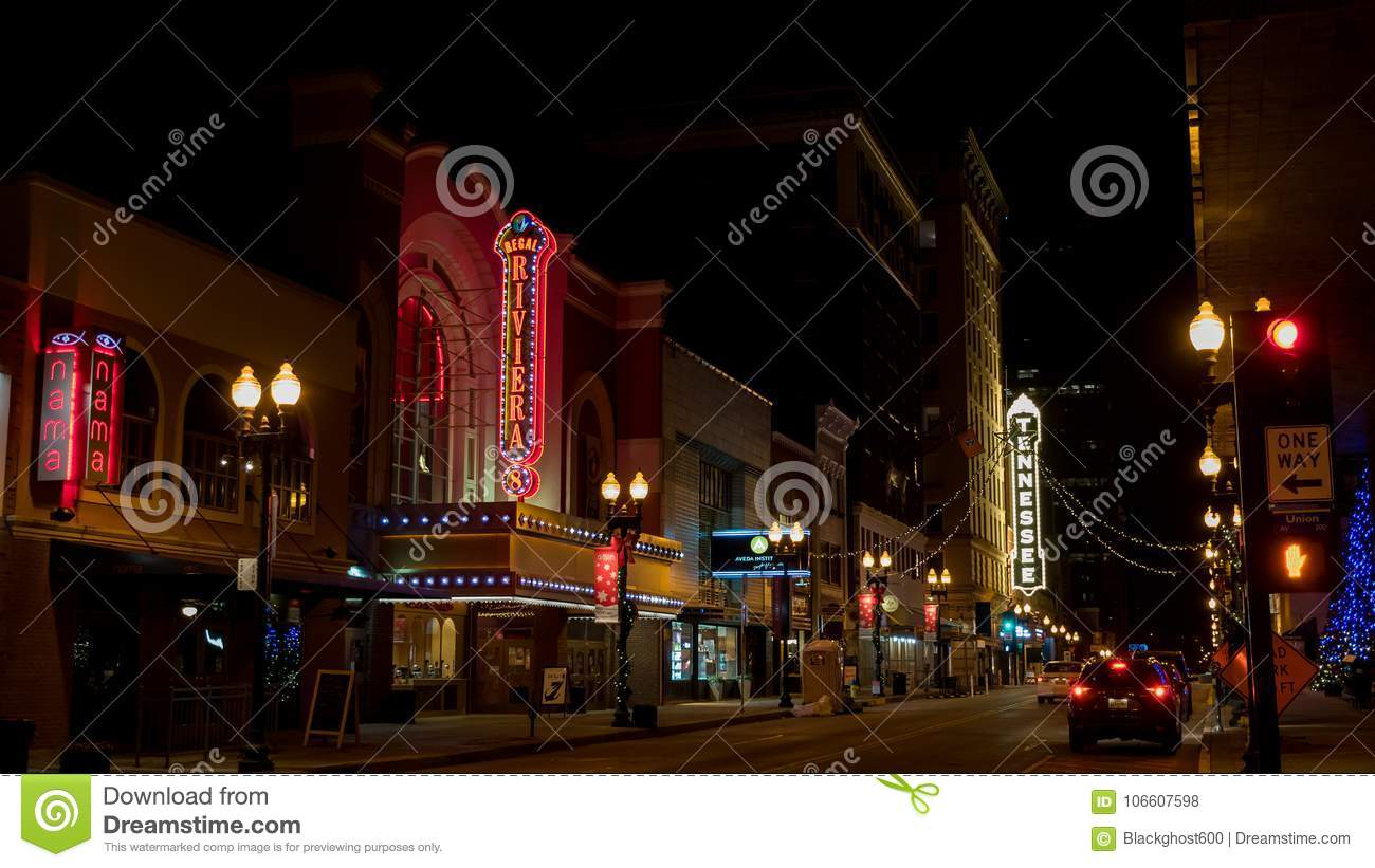 South Gay Street At Night In Downtown Knoxville Tennessee