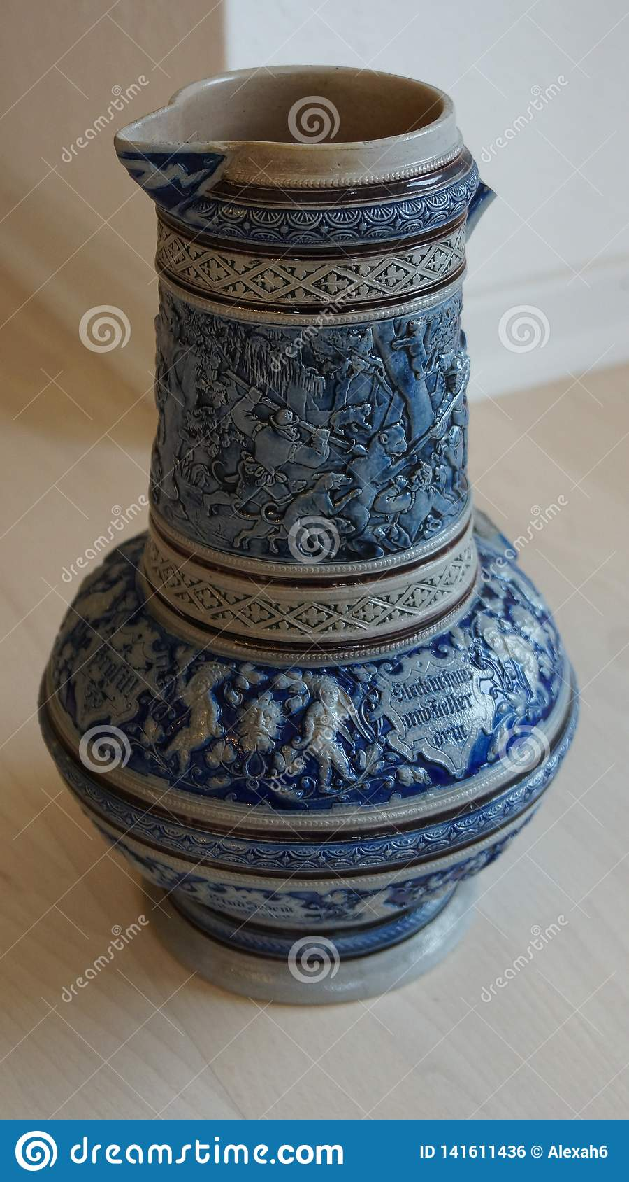 Old ceramic beer jug german tradition