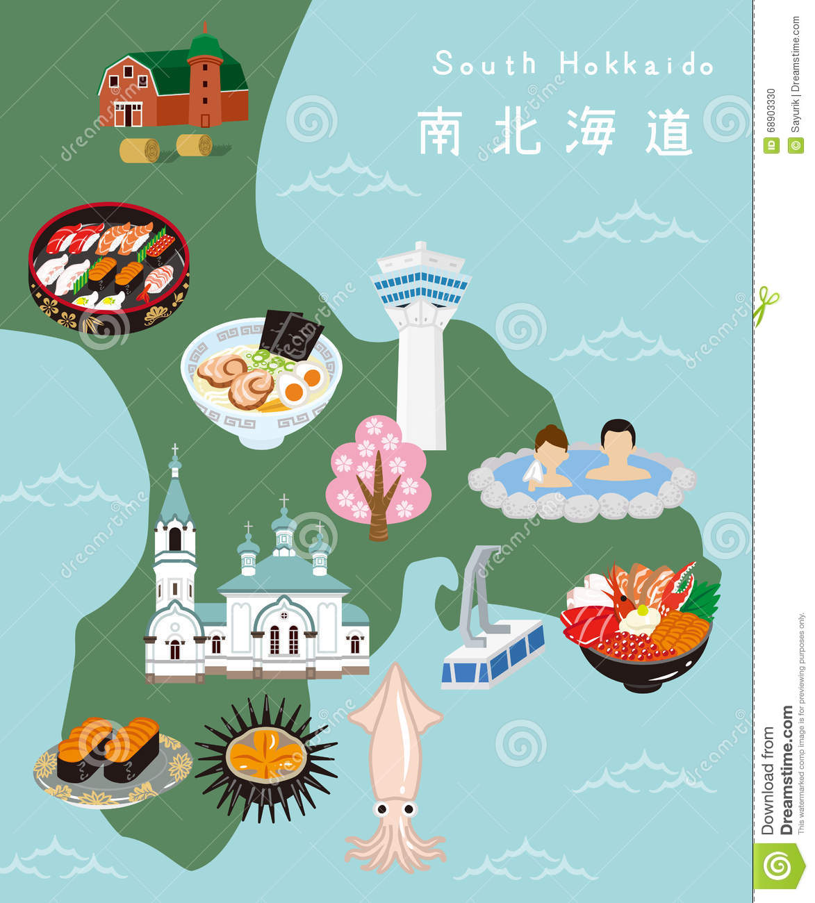 More similar stock images of ` South Hokkaido Illustration Map `
