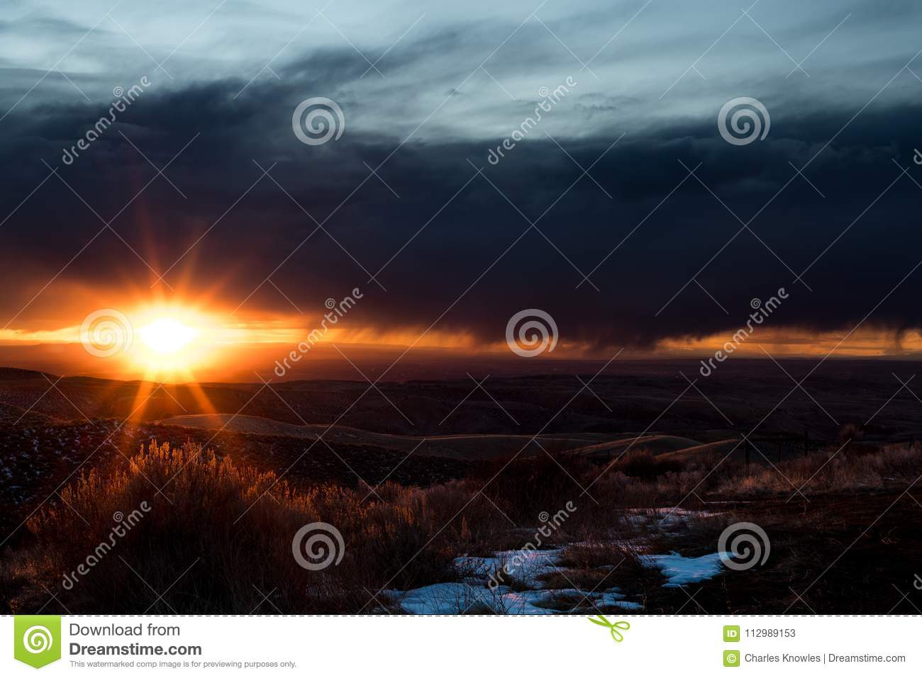 South Idaho storks and sunset over the desert with a formed star