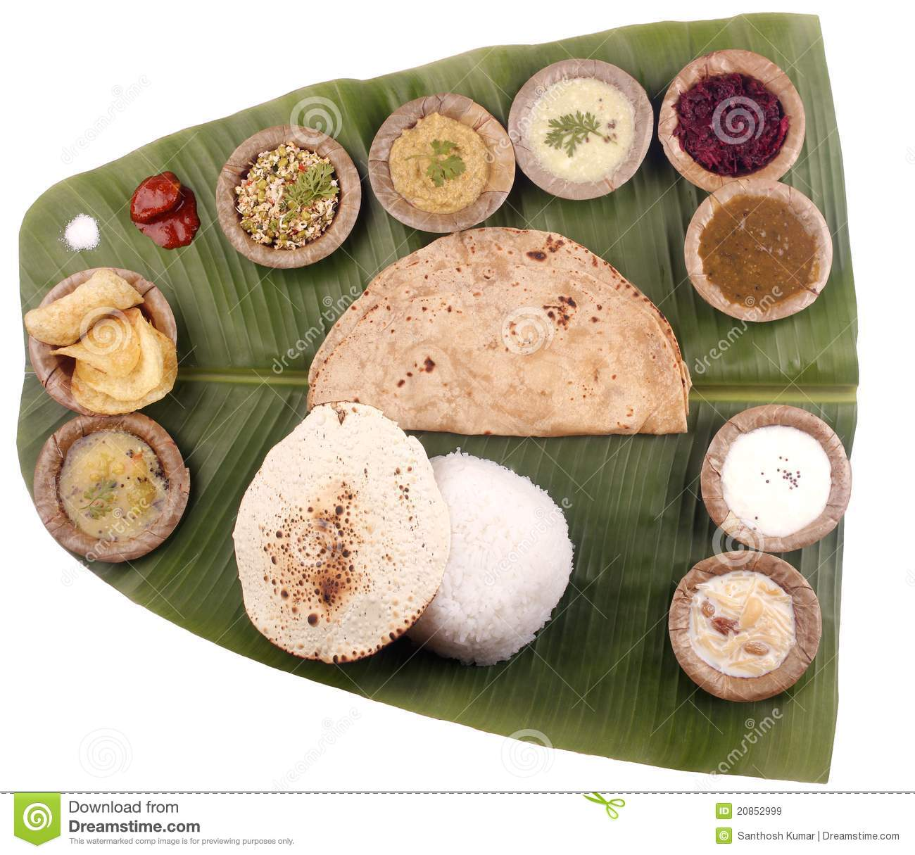South Indian Lunch On Banana Leaf Clipping Mask Stock Image