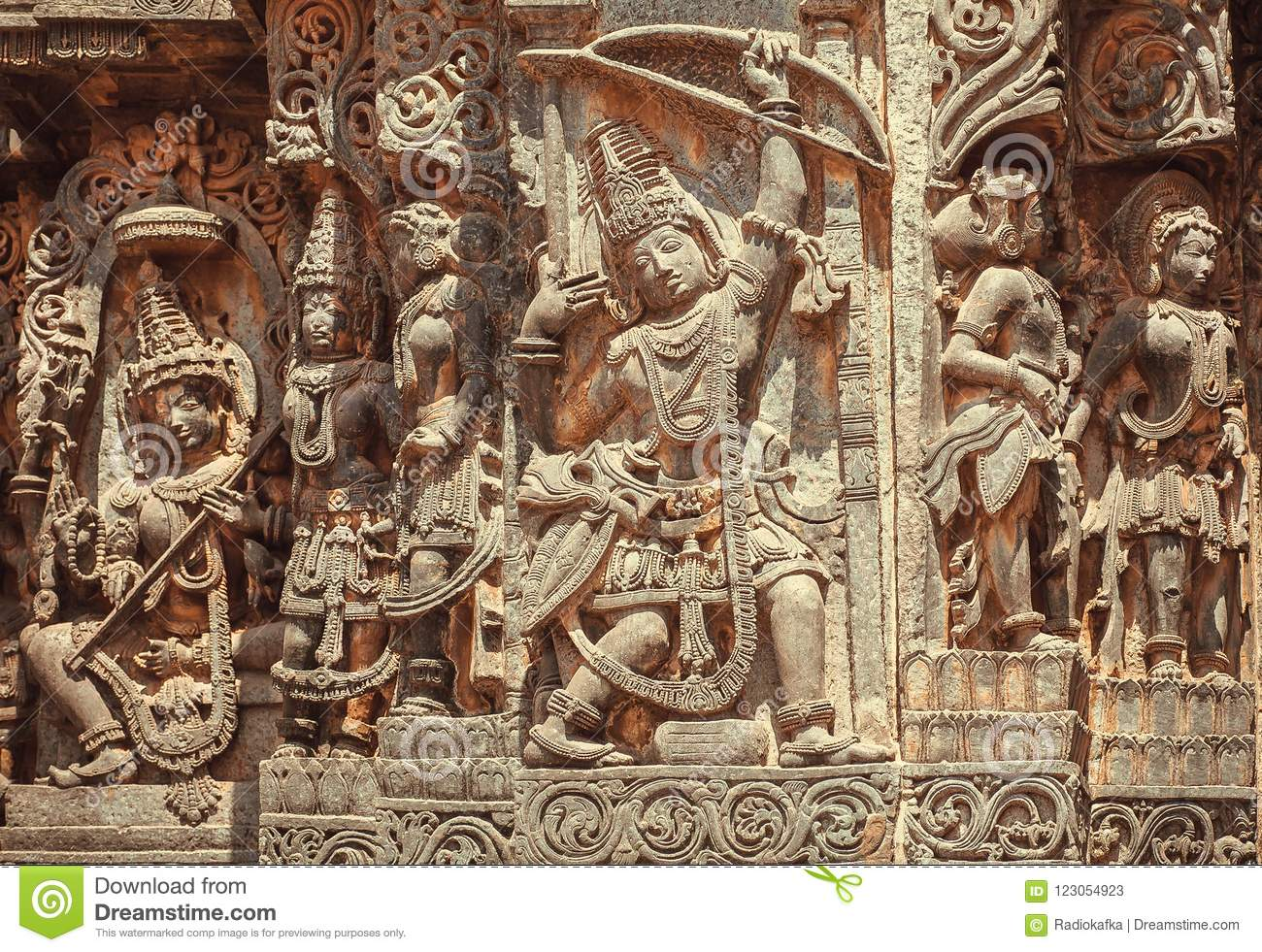 South Indian Temple Relief With Hero Arjuna With Bow And