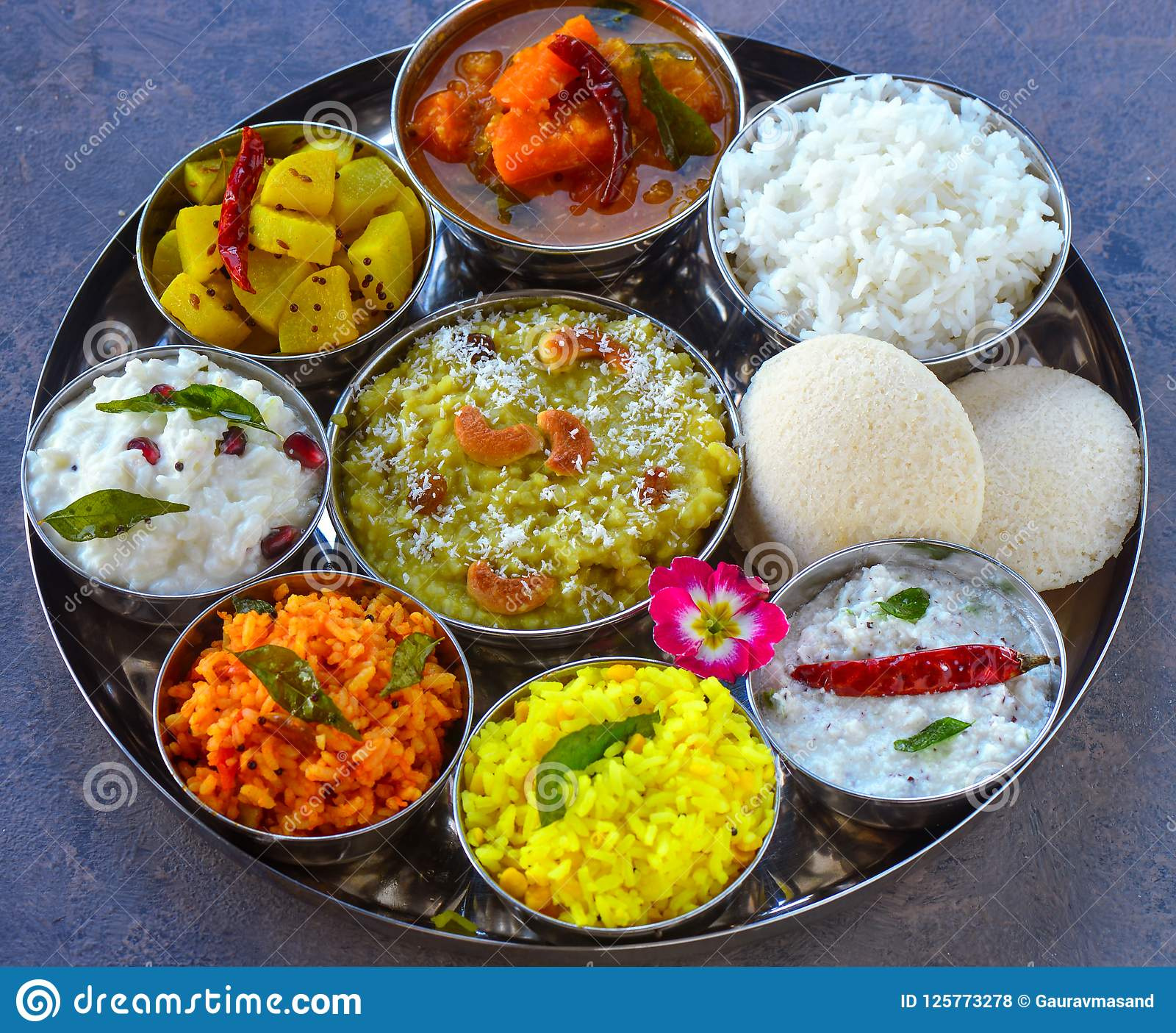 South Indian Telugu Platter Thaali Stock Photo - Image of fresh, asian:  125773278