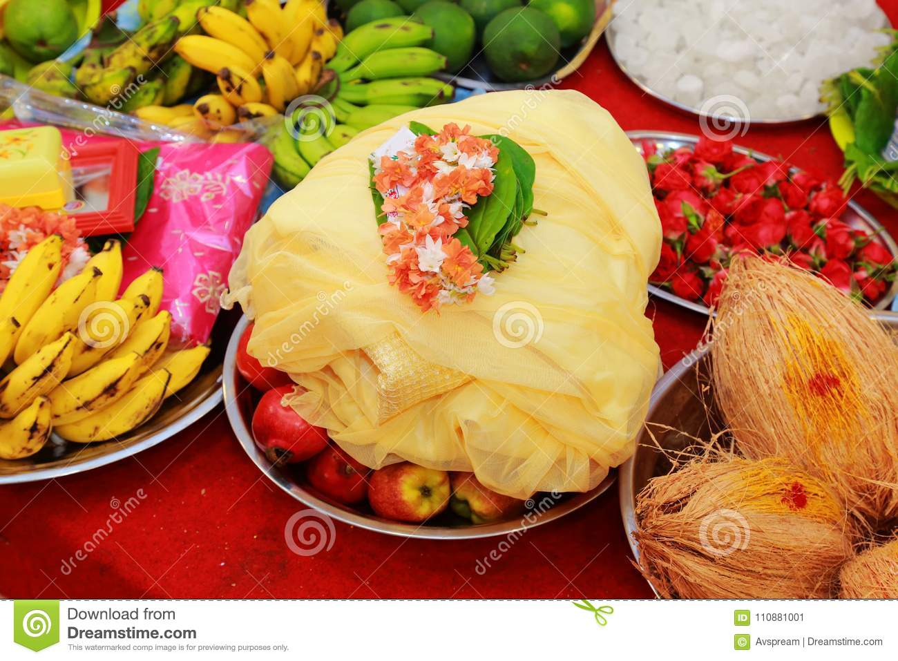 South Indian Wedding Ceremony Flowers With Fruits In Silver Plate Stock Image Image Of 2025 Beginnings 110881001