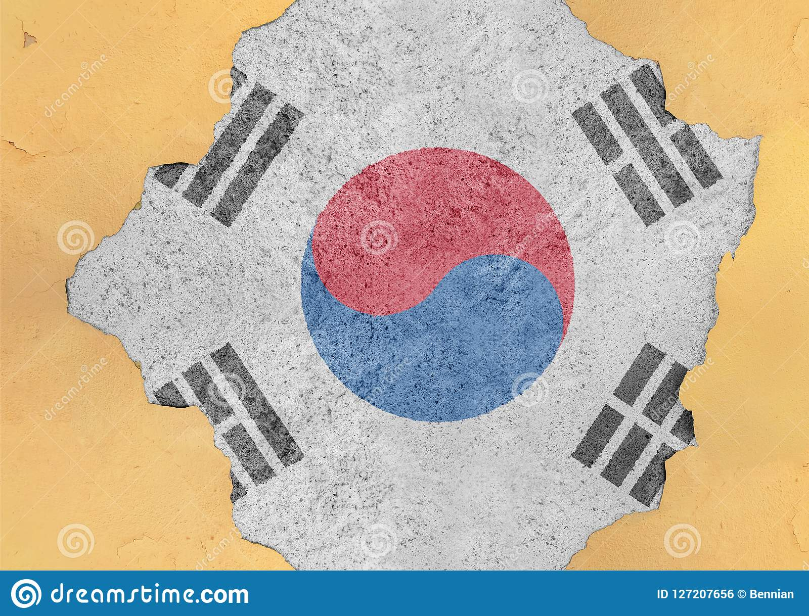 South Korea flag in big concrete cracked hole and broken material