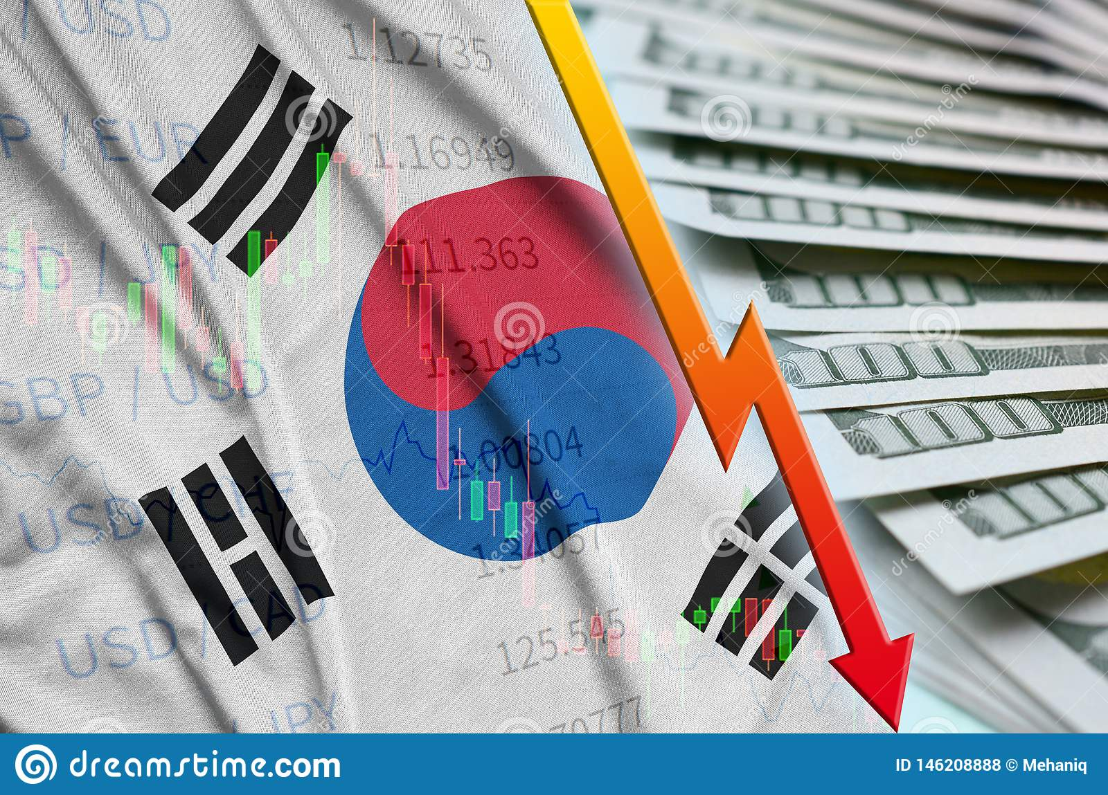 South Korea flag and chart falling US dollar position with a fan of dollar bills