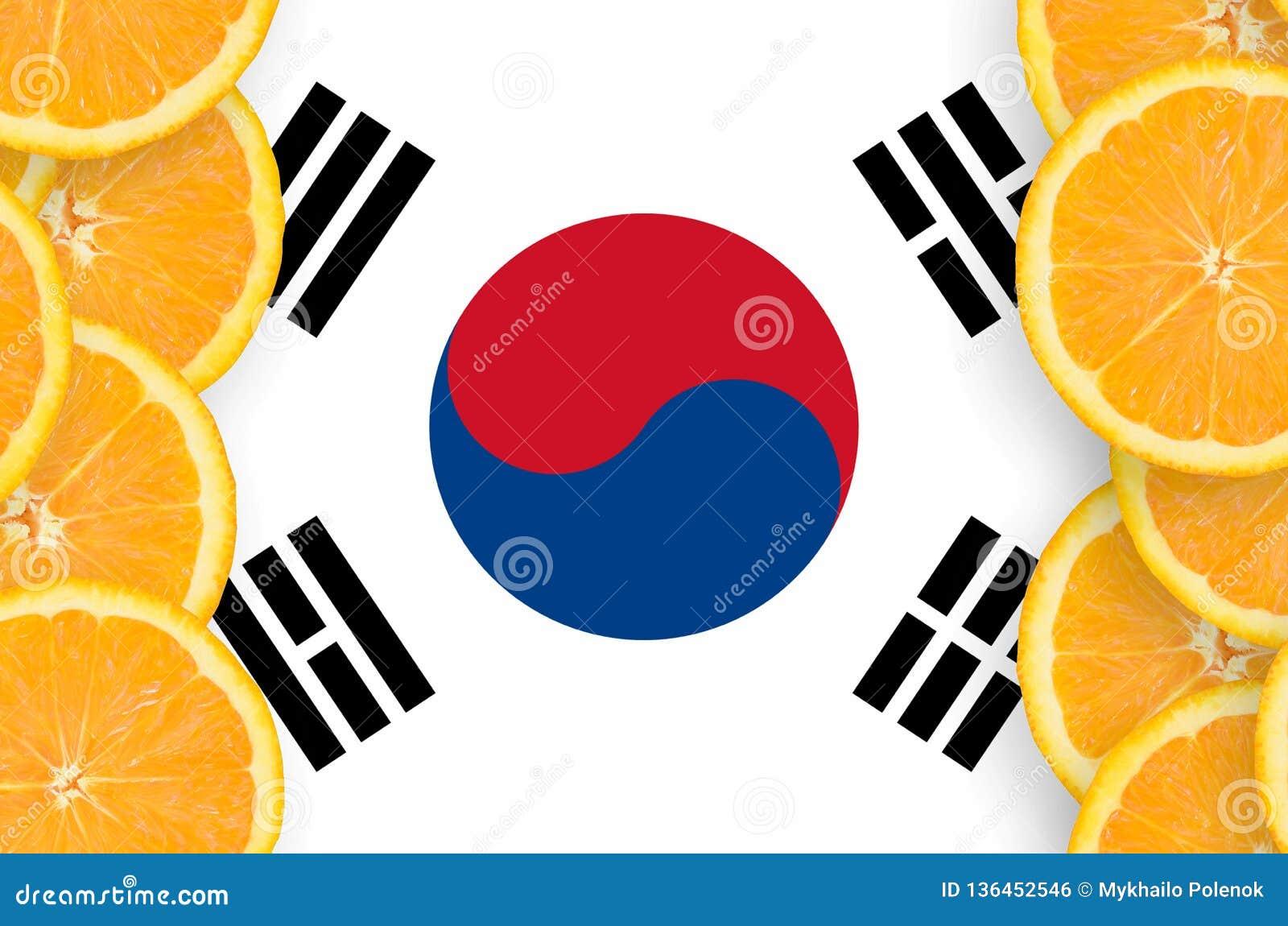 South Korea flag in citrus fruit slices vertical frame