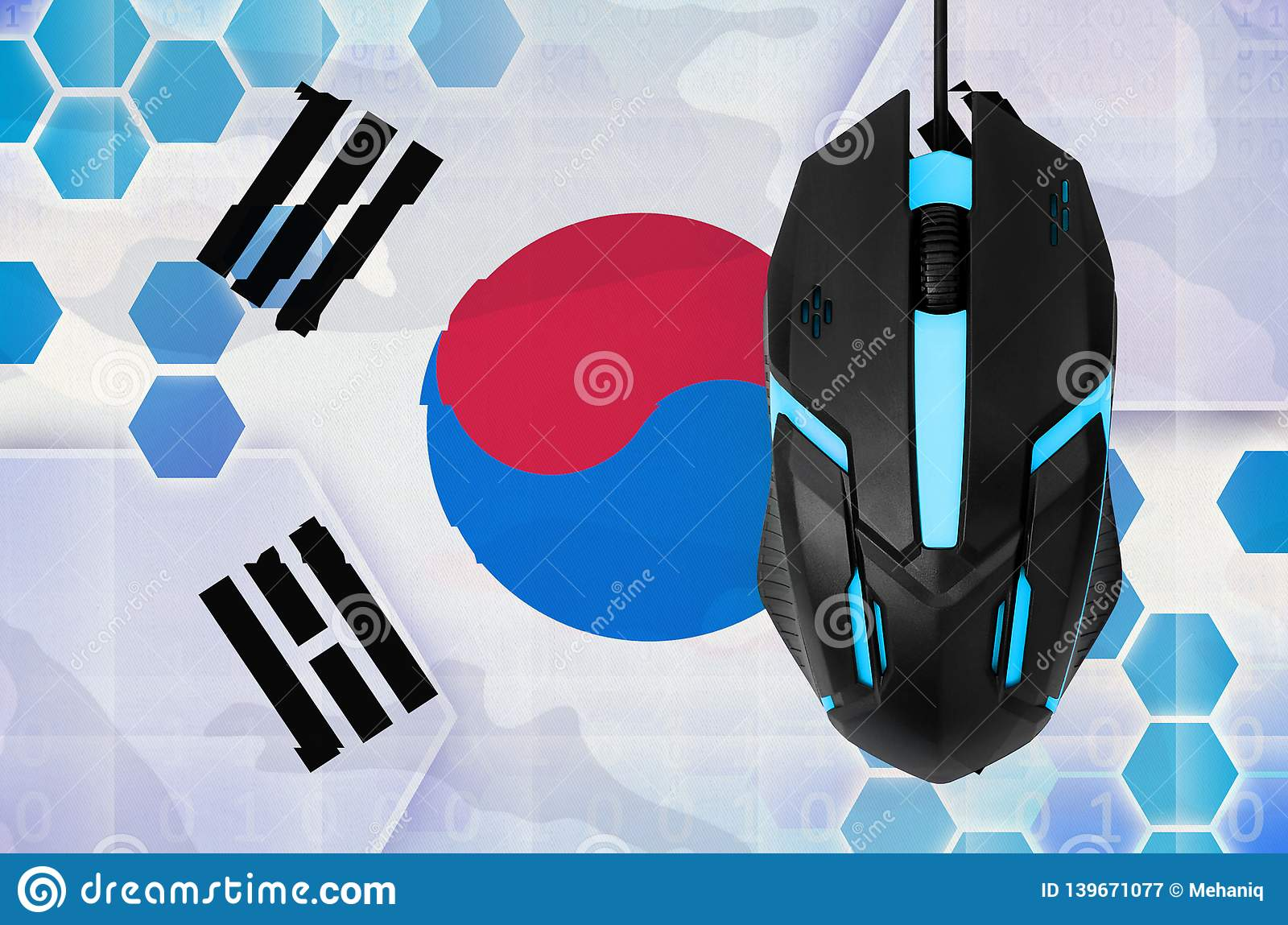 South Korea flag and computer mouse. Concept of country representing e-sports team