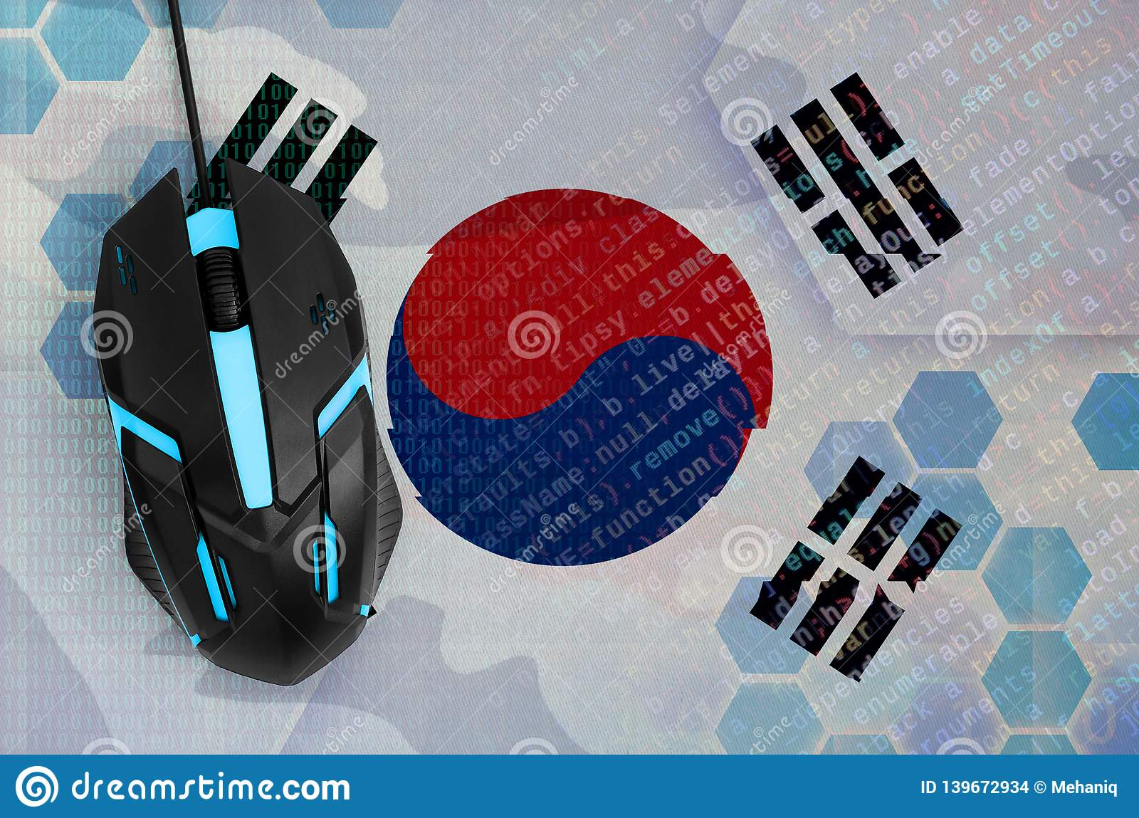 South Korea flag and computer mouse. Digital threat, illegal actions on the Internet