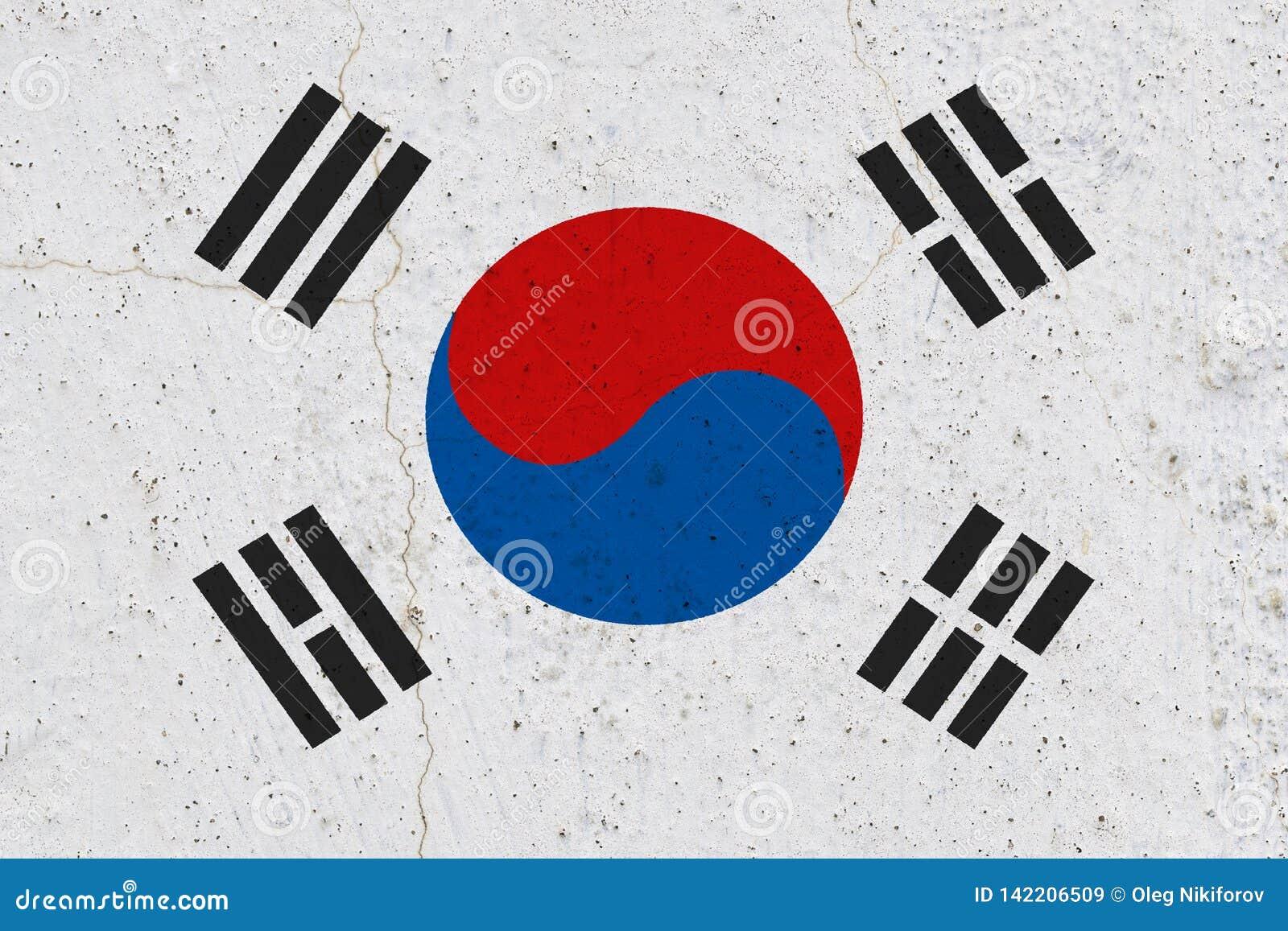 South korea flag on concrete wall