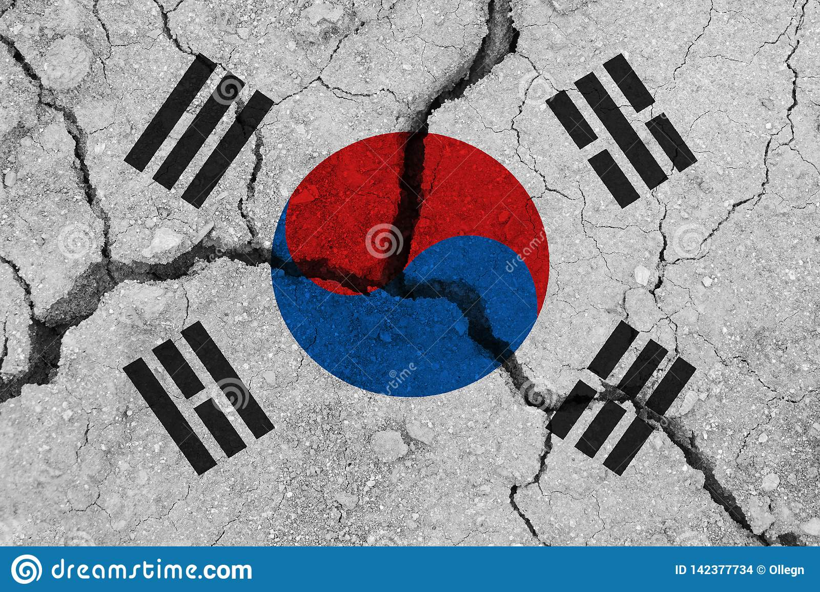 South korea flag on the cracked earth