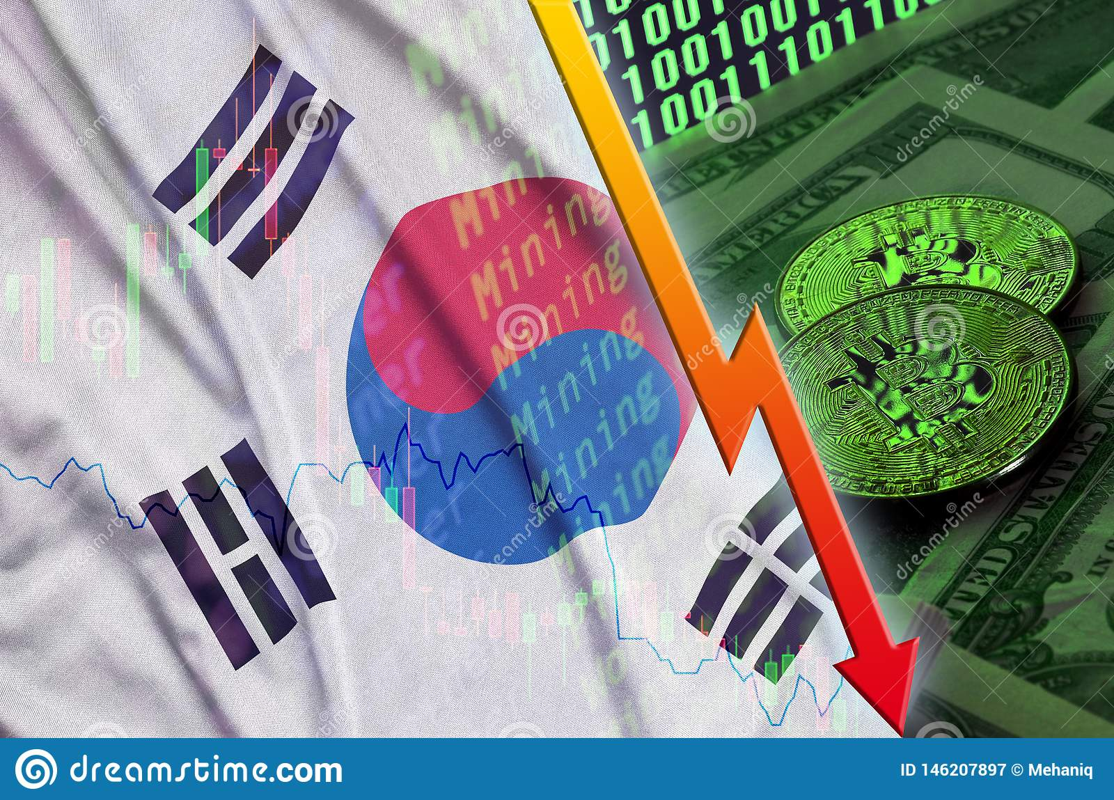 South Korea flag and cryptocurrency falling trend with two bitcoins on dollar bills and binary code display