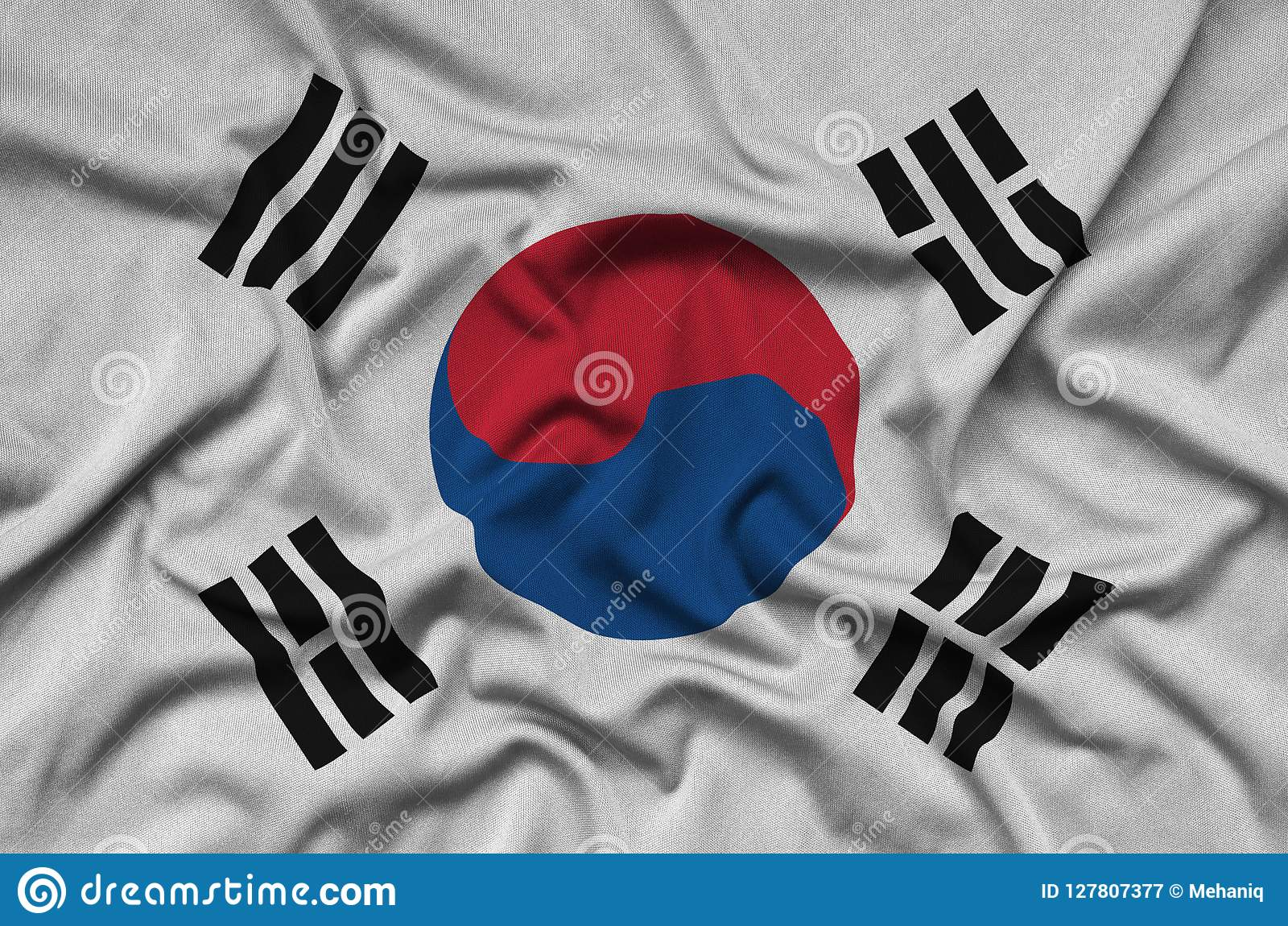 South Korea flag is depicted on a sports cloth fabric with many folds. Sport team banner