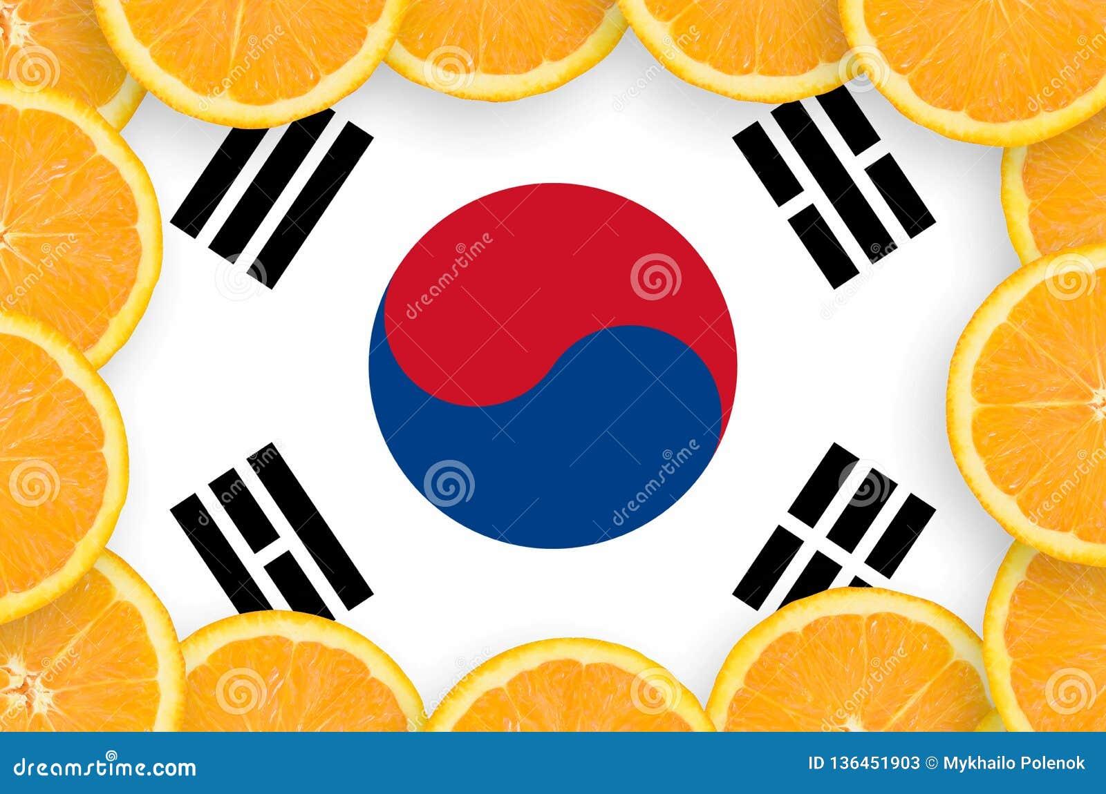 South Korea flag in fresh citrus fruit slices frame