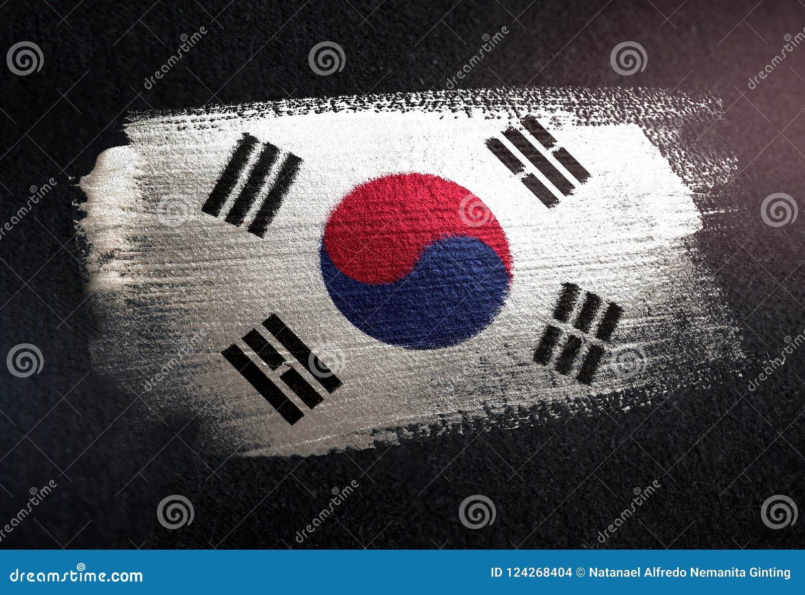 South Korea Flag Made of Metallic Brush Paint on Grunge Dark Wall