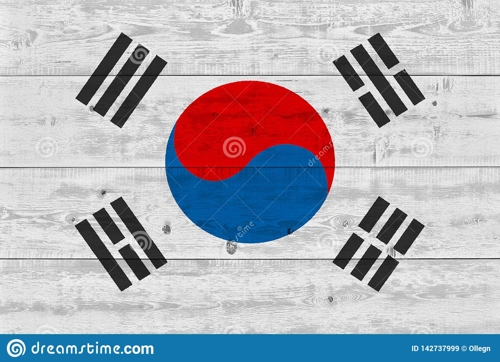 South korea flag painted on old wood plank