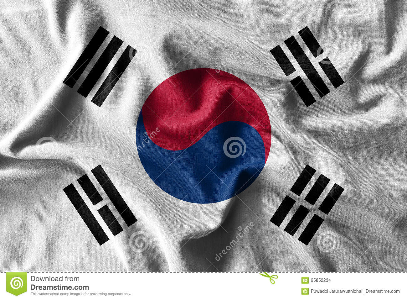 South korea flag painting on high detail of wave cotton fabrics .