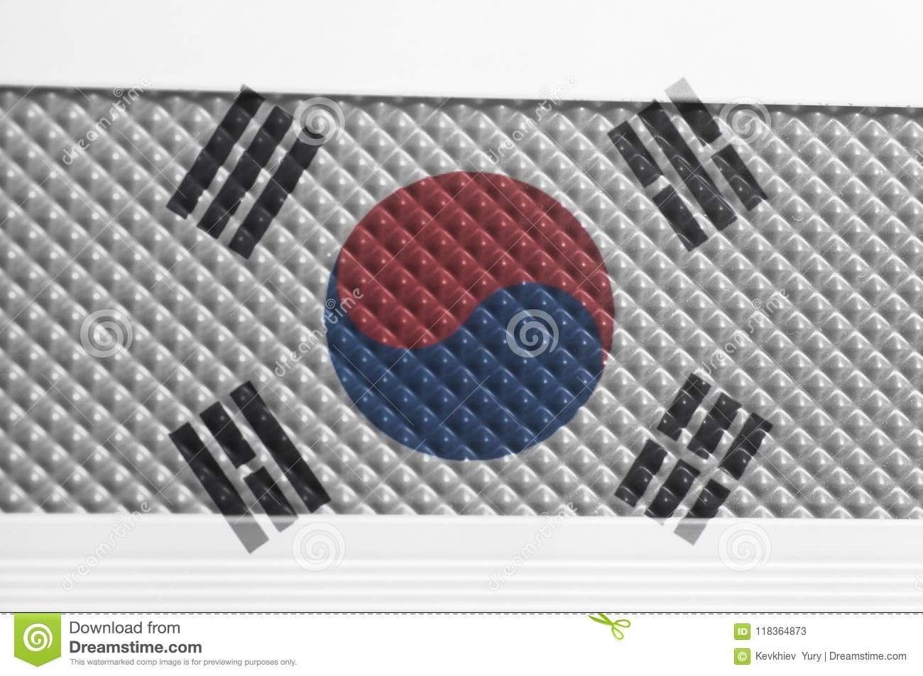 South Korea Flag On a Pimples Plastic Texture