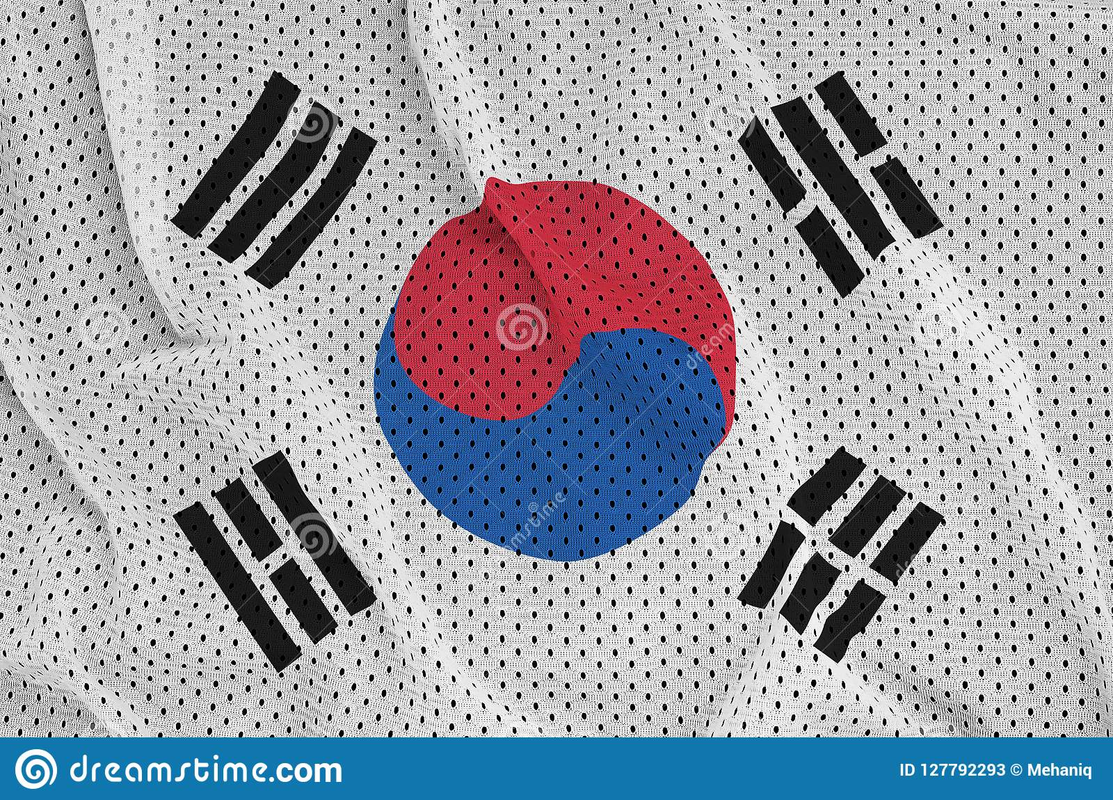 South Korea flag printed on a polyester nylon sportswear mesh fa