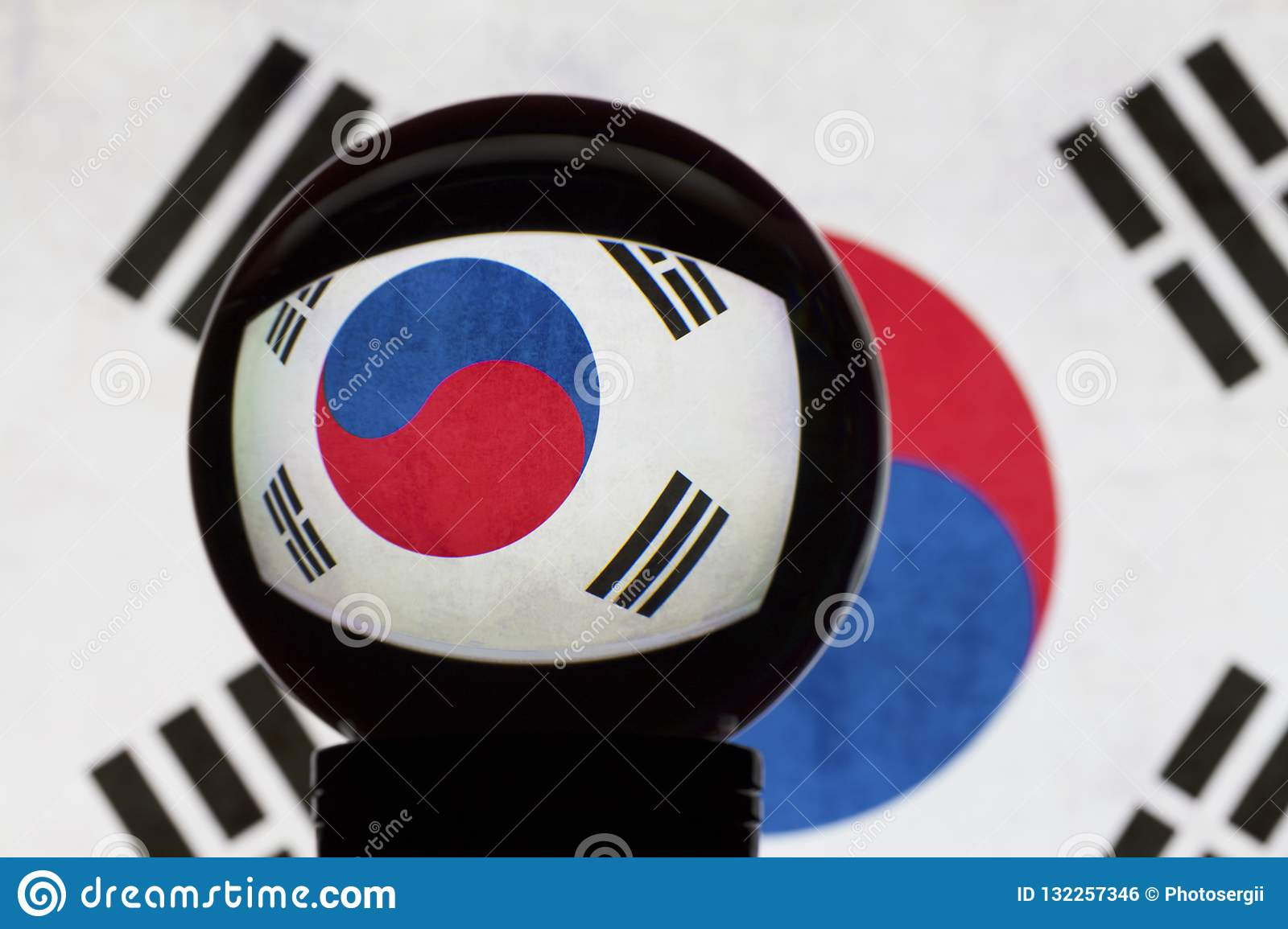 South Korea flag in reflection on a crystal ball
