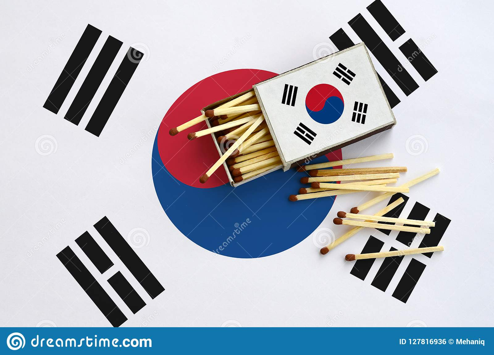 South Korea flag is shown on an open matchbox, from which several matches fall and lies on a large flag