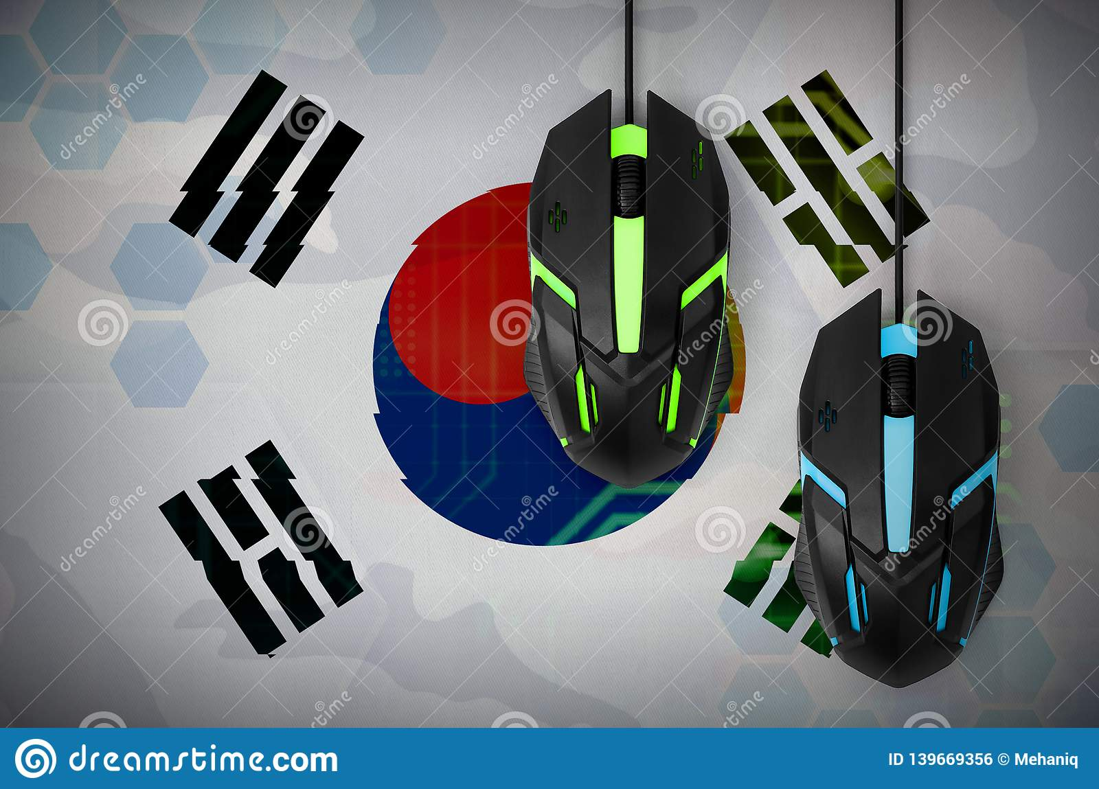 South Korea flag and two mice with backlight. Online cooperative games. Cyber sport team