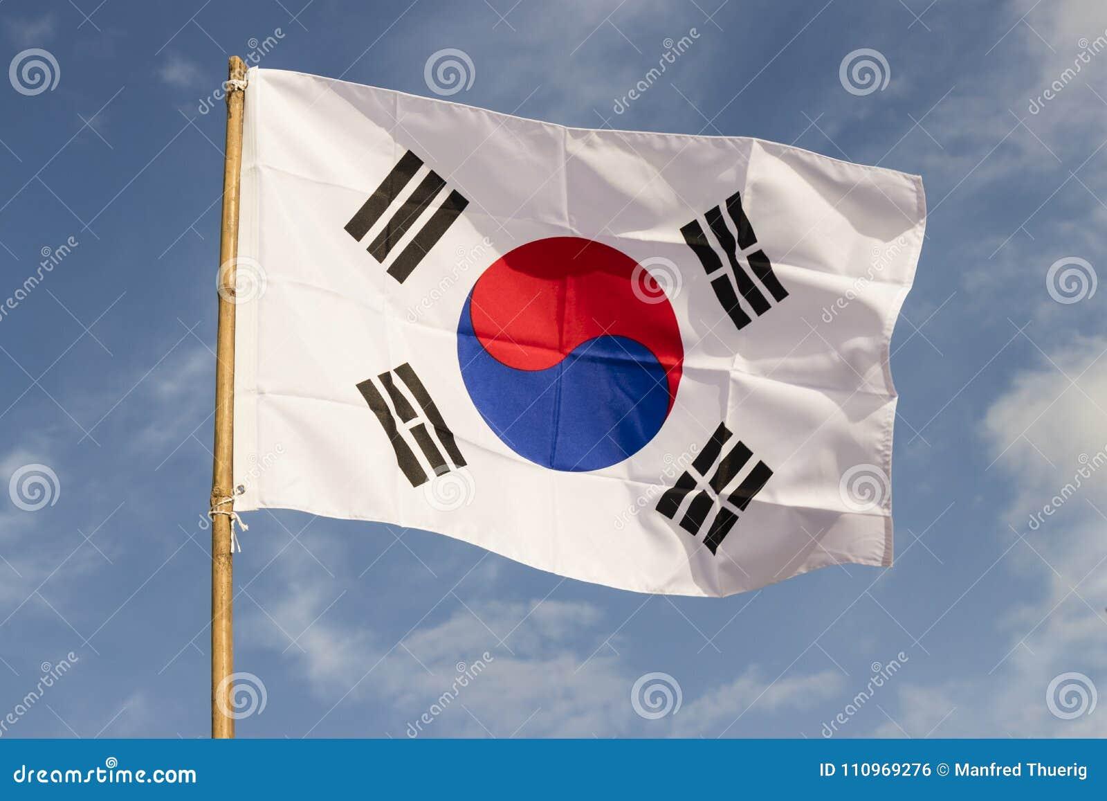 South Korea flag waving against cloudy blue sky