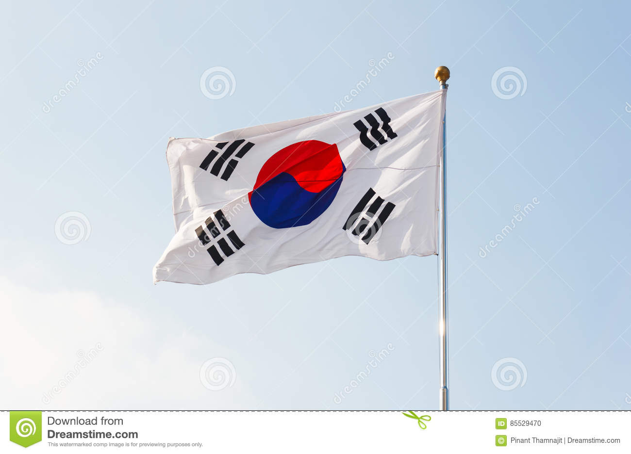 South Korea flag waving with blue sky in background.