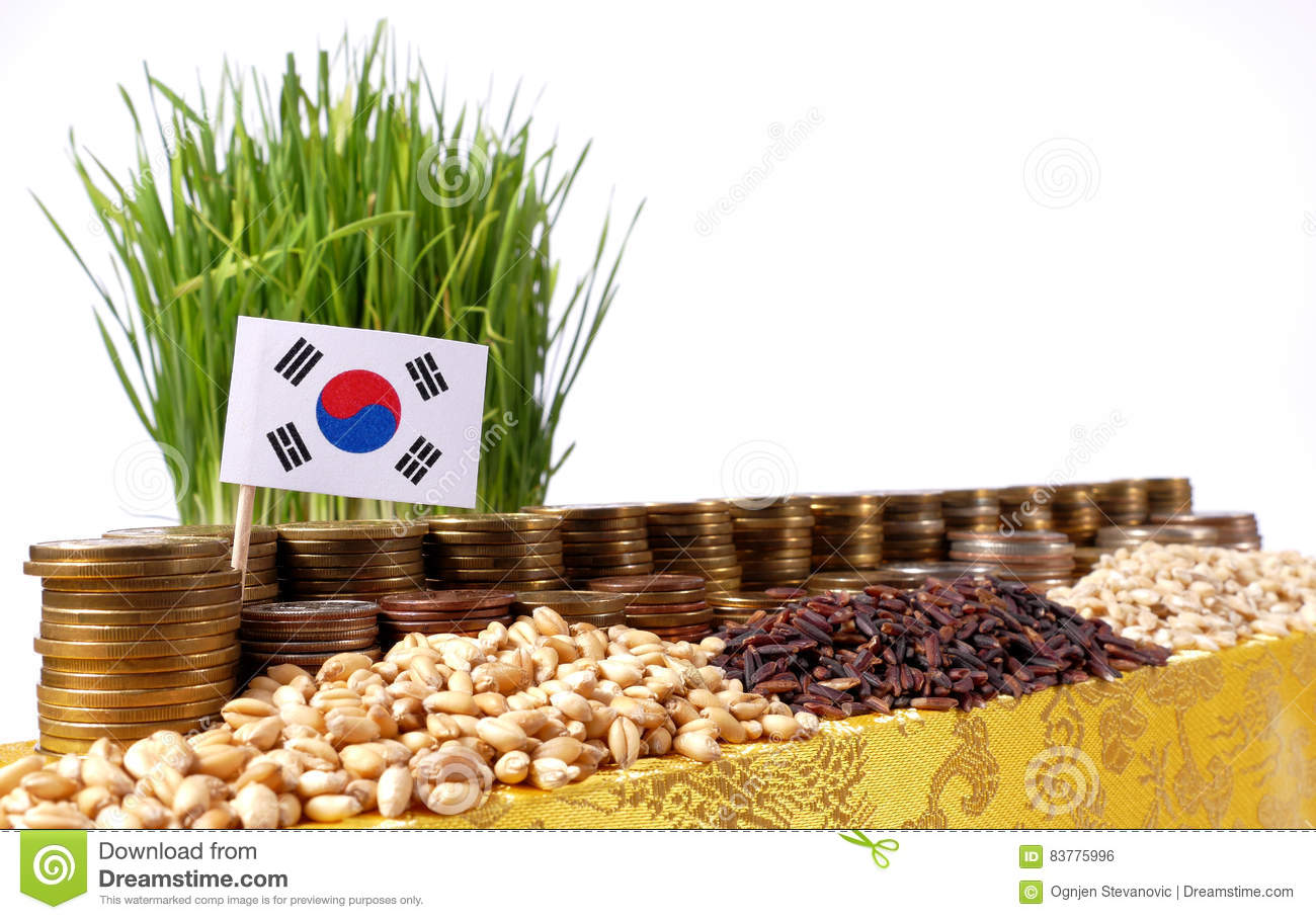 South Korea flag waving with stack of money coins and piles of wheat