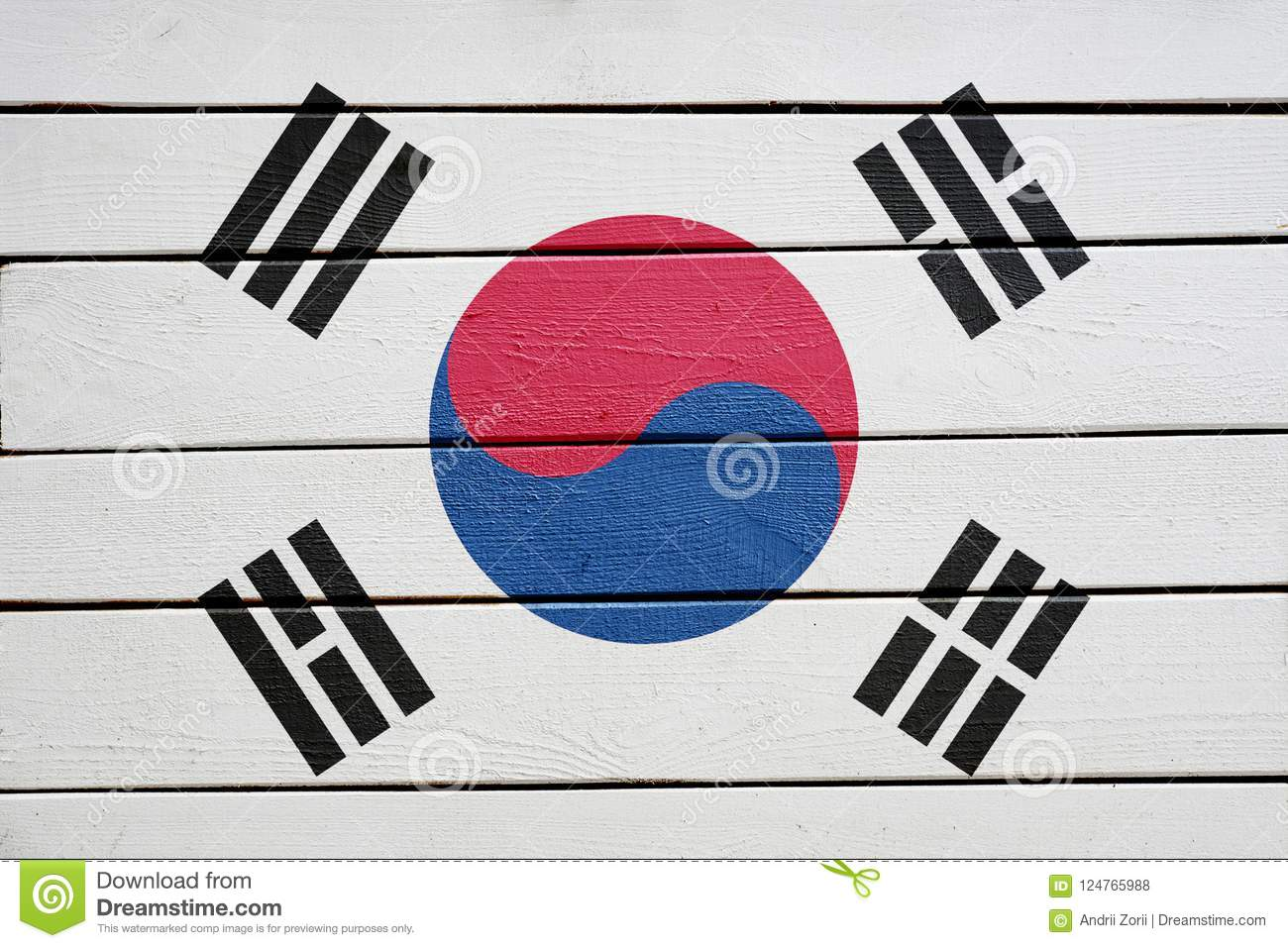 South korea flag on wood texture background
