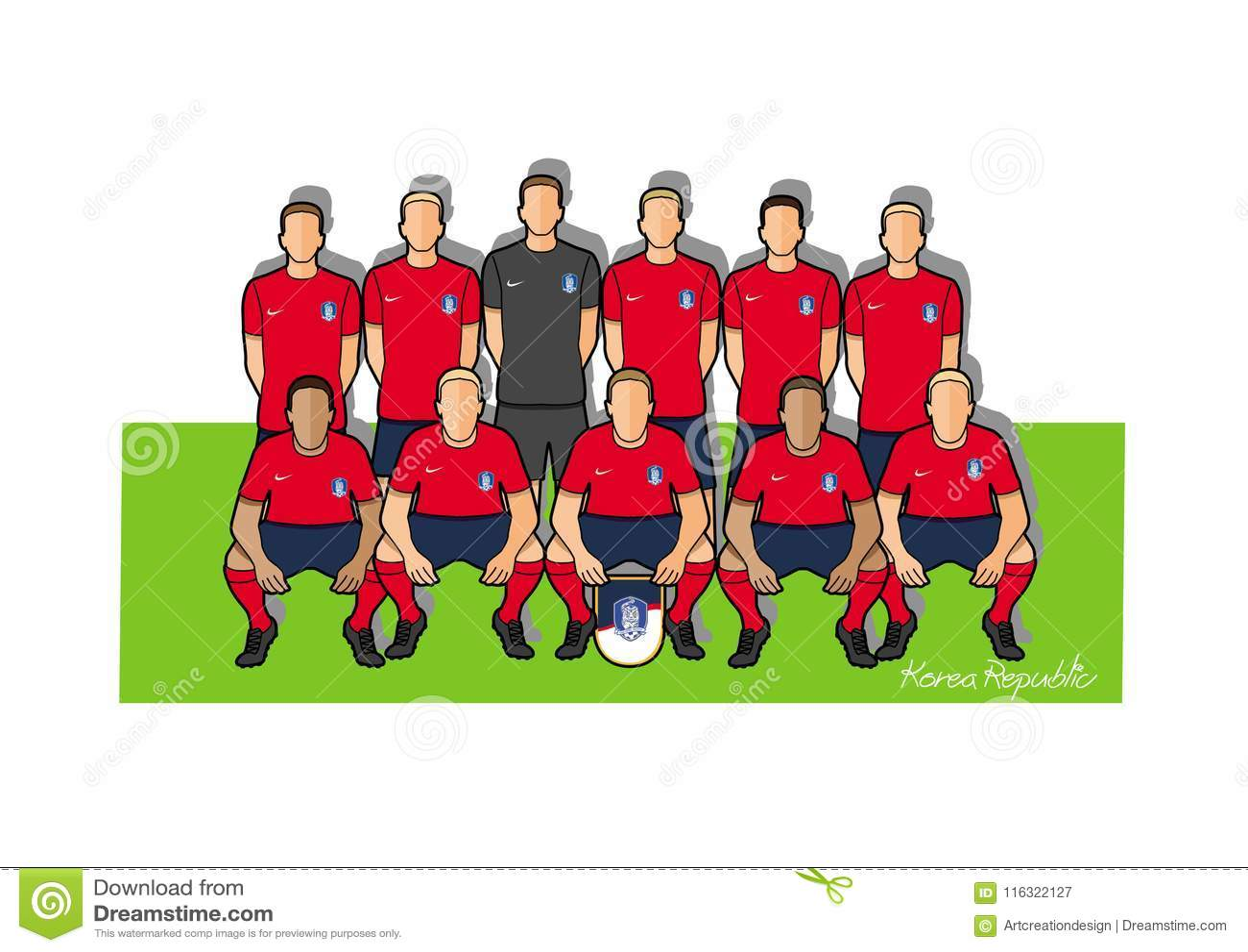4eca2a8f8 South Korea Football Team 2018 Stock Vector - Illustration of 2018 ...