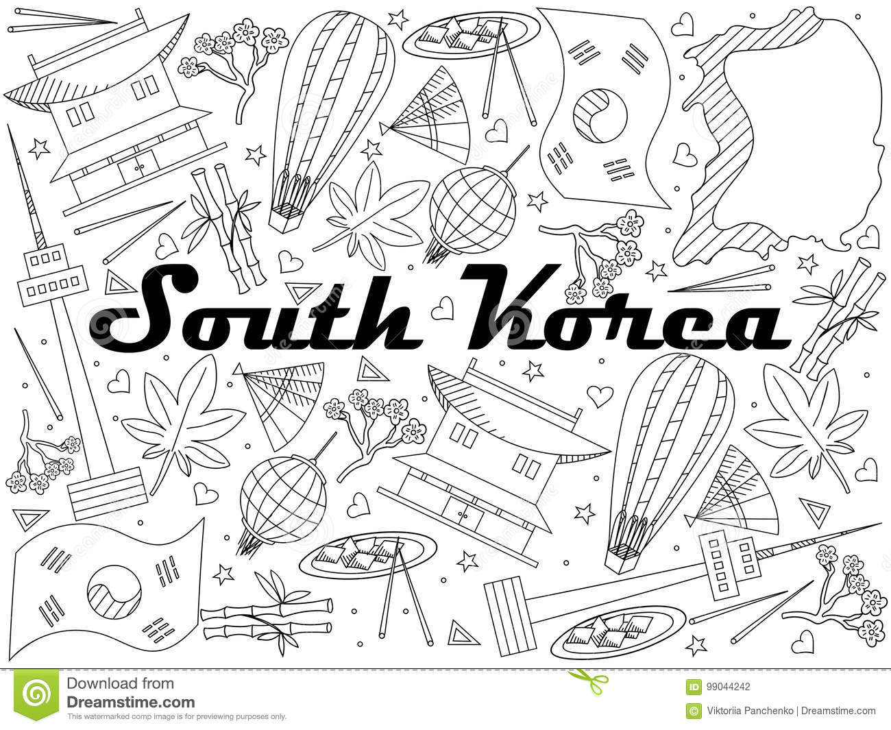 South korea coloring book - Royalty Free Illustration Download South Korea