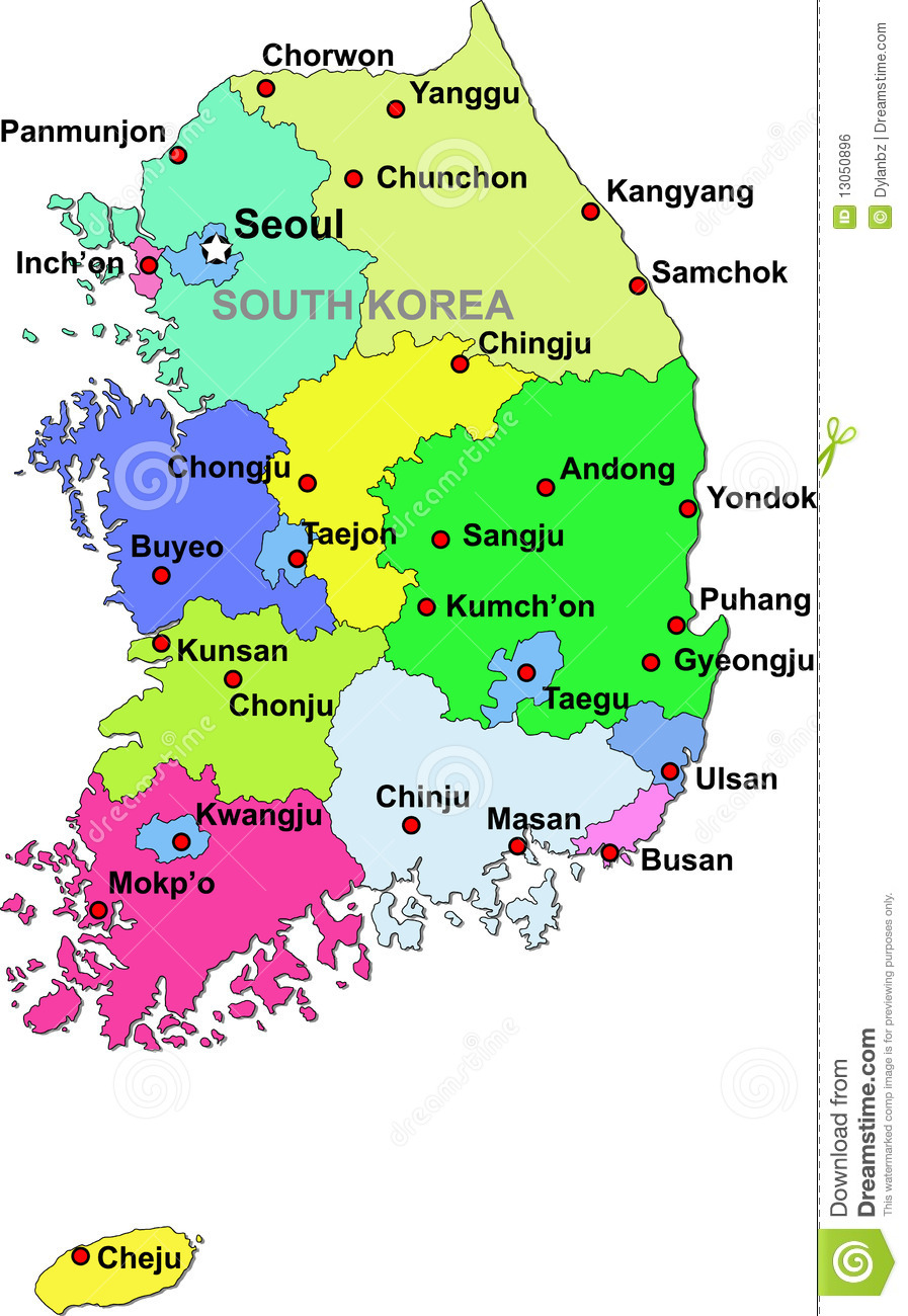 South Korea Map Stock Vector Image Of Country Green - Map of south korea