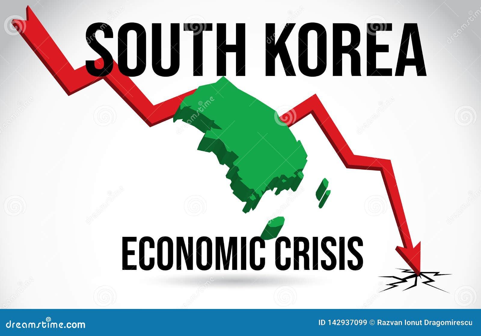 South Korea Map Financial Crisis Economic Collapse Market Crash