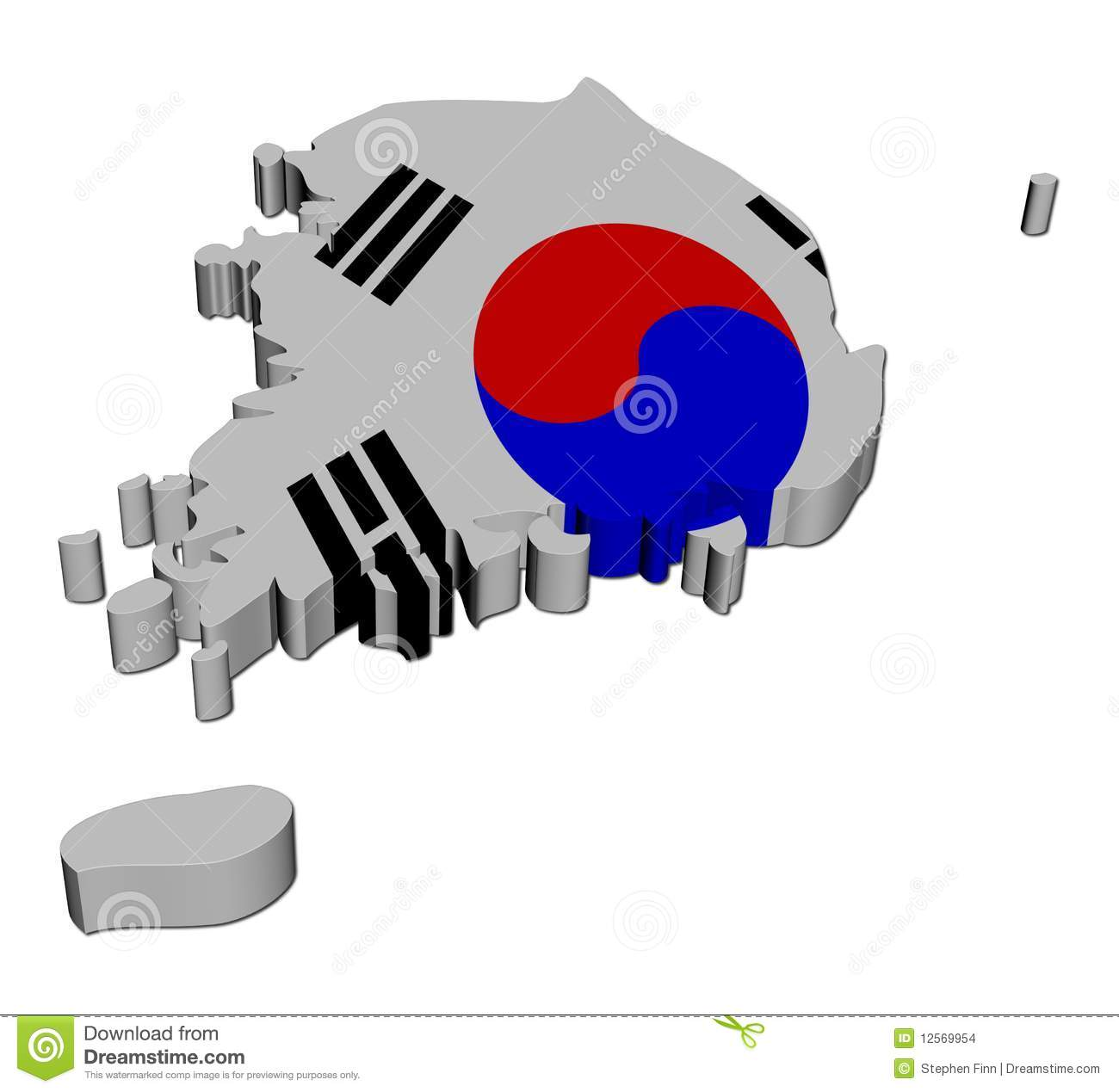 South Korea Map Flag 3d Render Stock Images Image 12569954