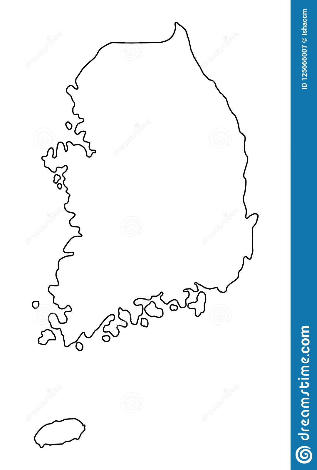 South Korea Map Outline Vector Illustration Stock Vector