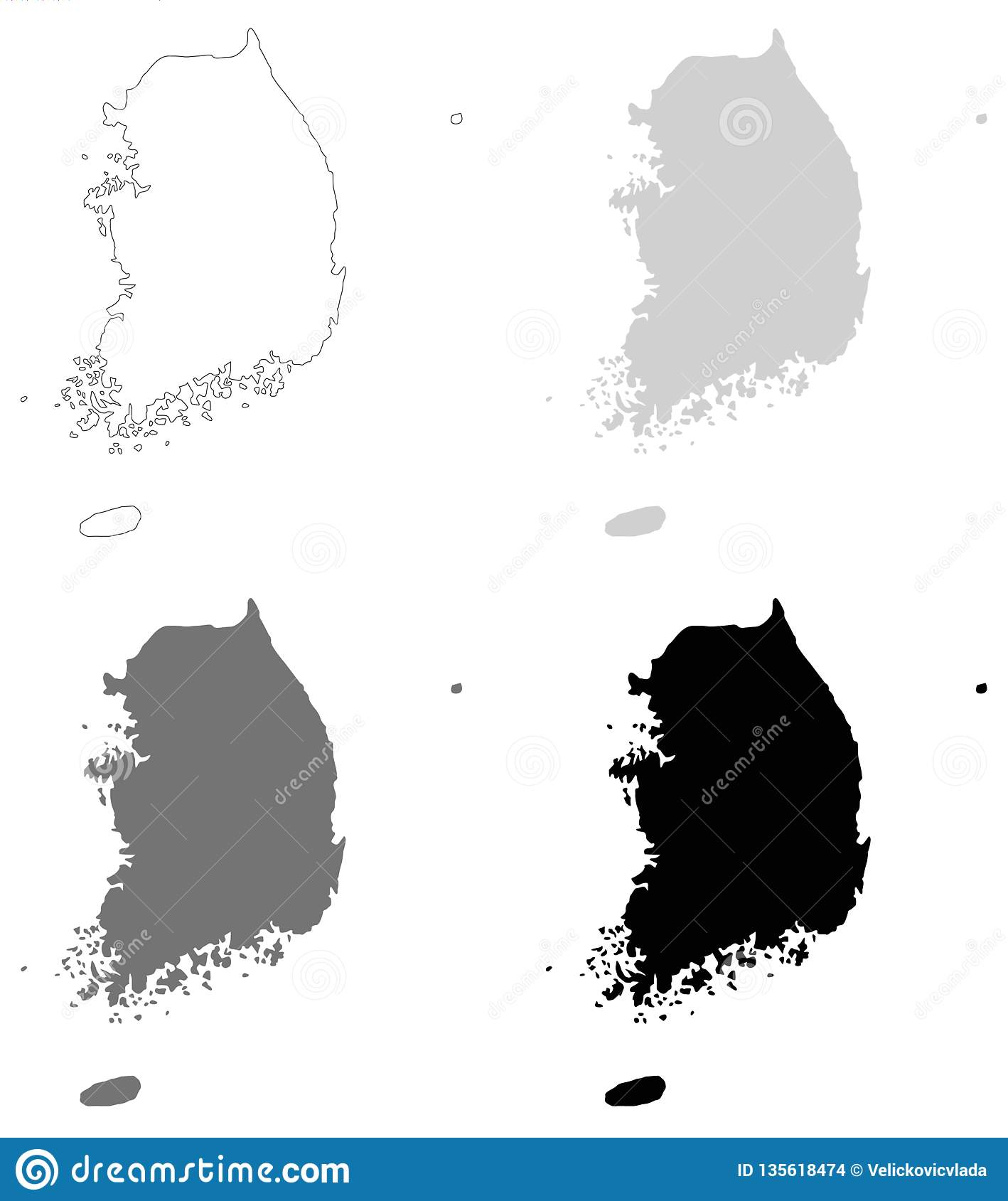 South Korea Map Republic Of Korea Stock Vector Illustration Of Vector Peninsula 135618474