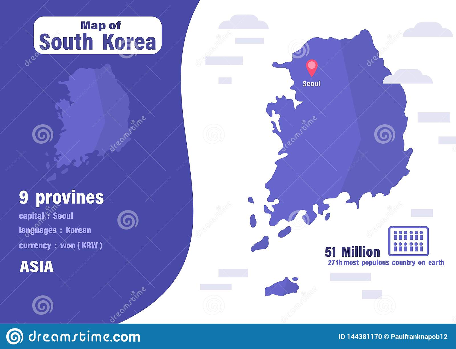 South Korea map .Number of population and world geography
