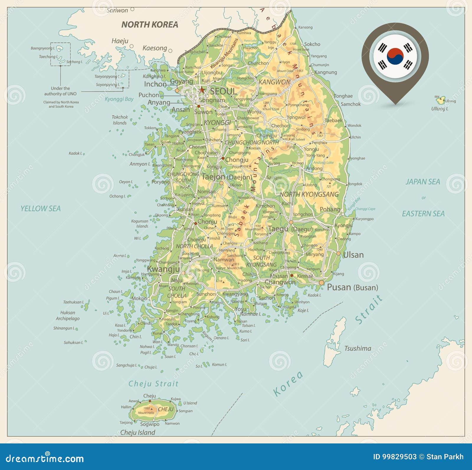 South Korea Physical Map. Retro Colors Stock Vector - Illustration on mekong river map, grand canal map, luzon strait map, monaco bay map, taklamakan desert map, hangzhou bay, florida bay map, bohai sea, indonesia map, gulf of tonkin map, mongolian plateau map, yellow sea map, mu us desert map, tatar strait map, korea water park, south bay map, korean empire map, bo hai map, mexico bay map, yellow sea, pacific ocean map, yalu river, the aquariums of pyongyang, goryeo map, qinghai lake map, liaodong bay, north pyongan,