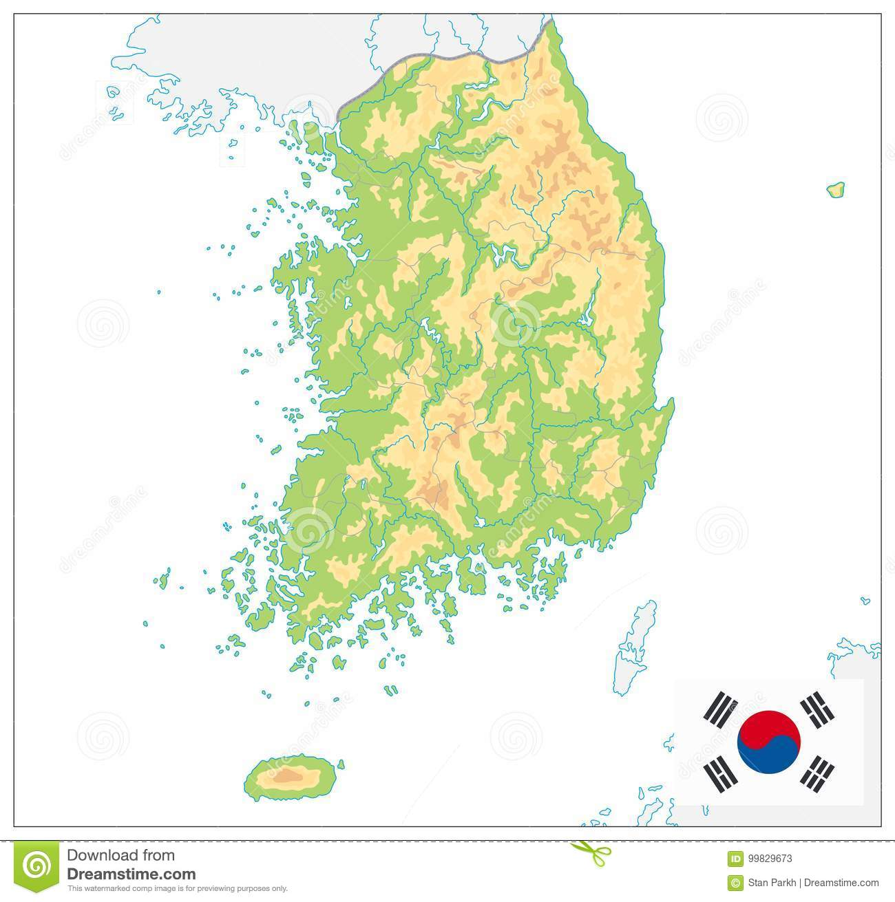 Download South Korea Physical Map. On White. No Text Stock Vector    Illustration Of
