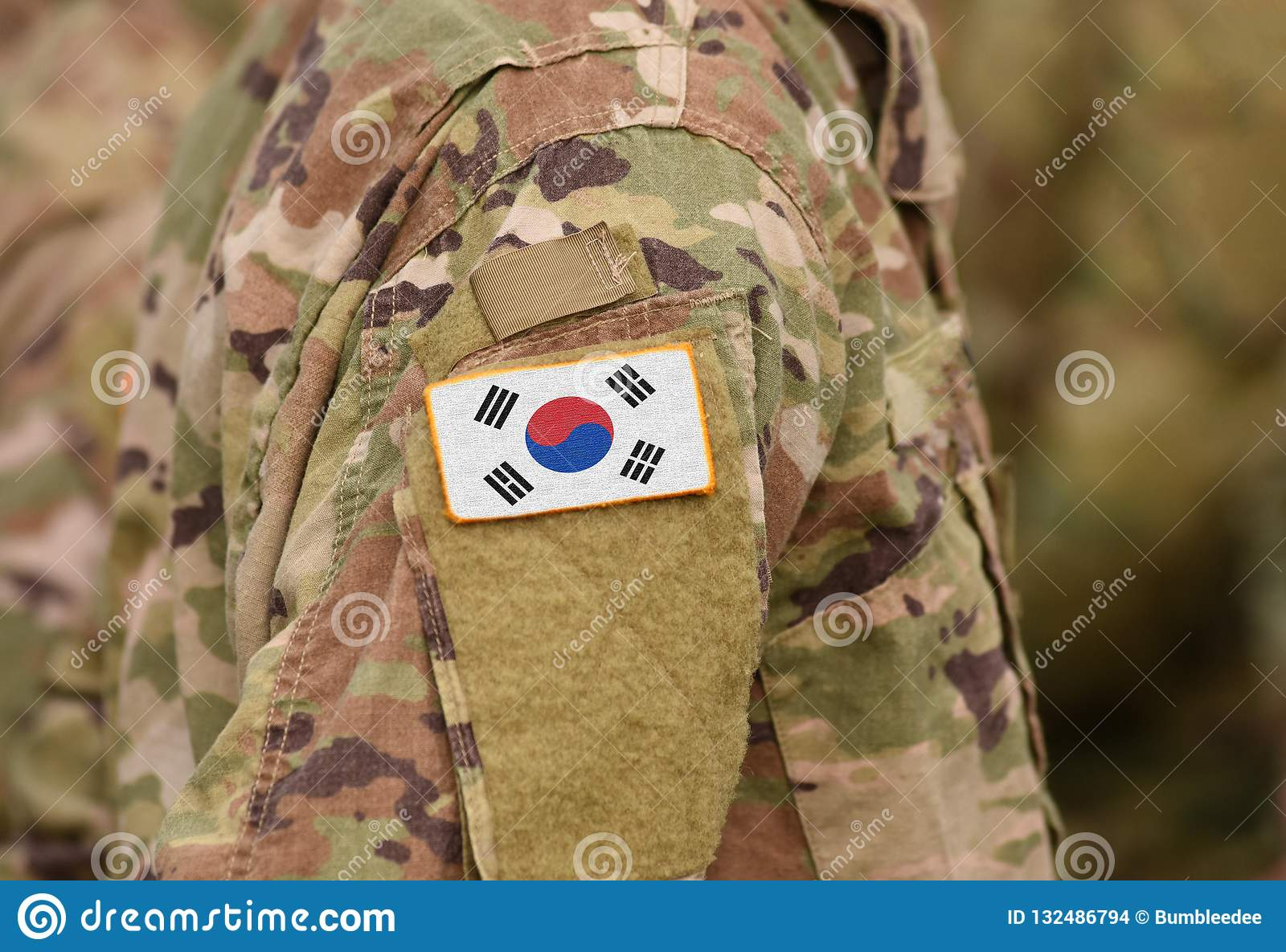South Korea on soldiers arm collage