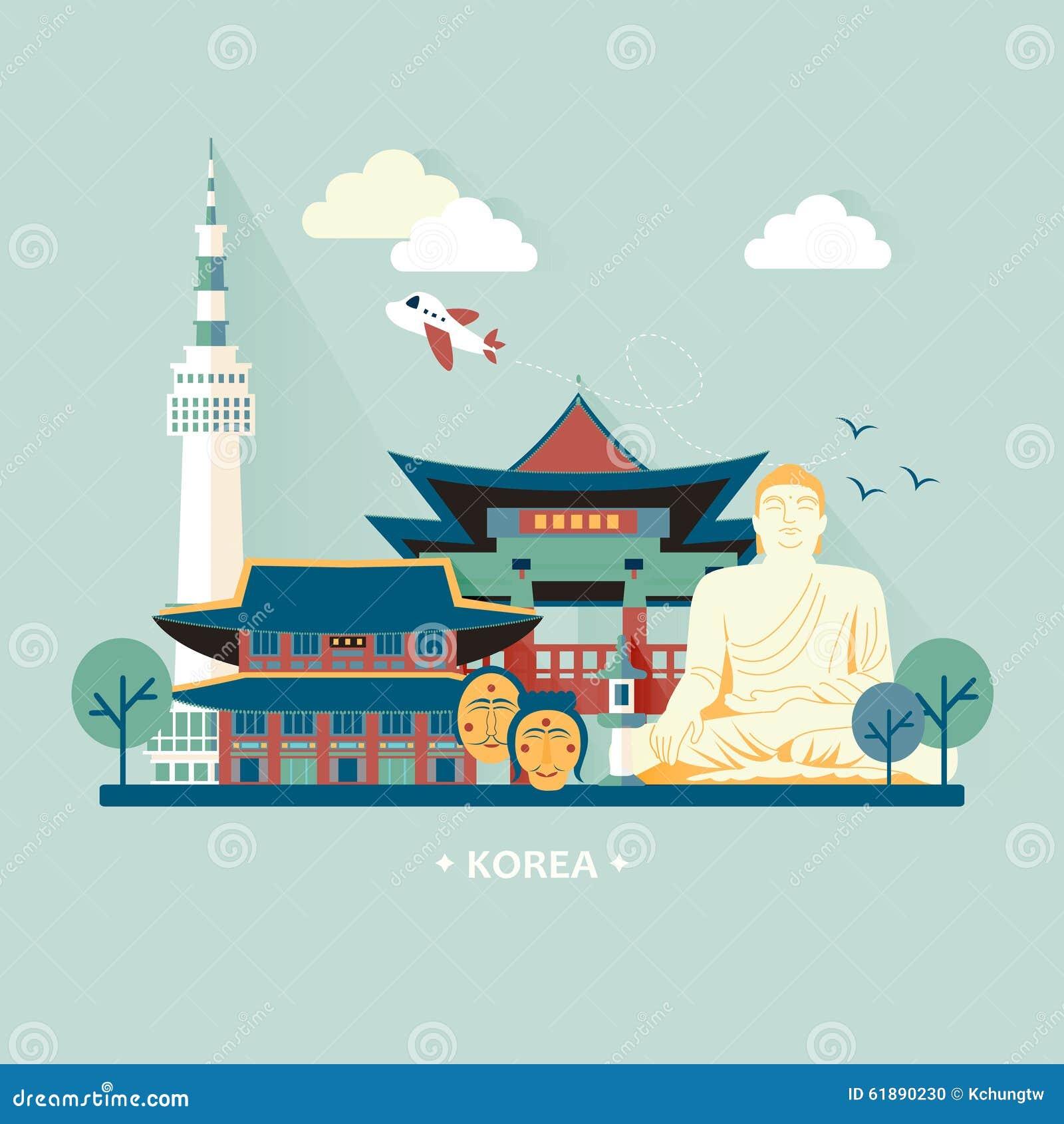 South Korea Travel Concept Stock Illustration