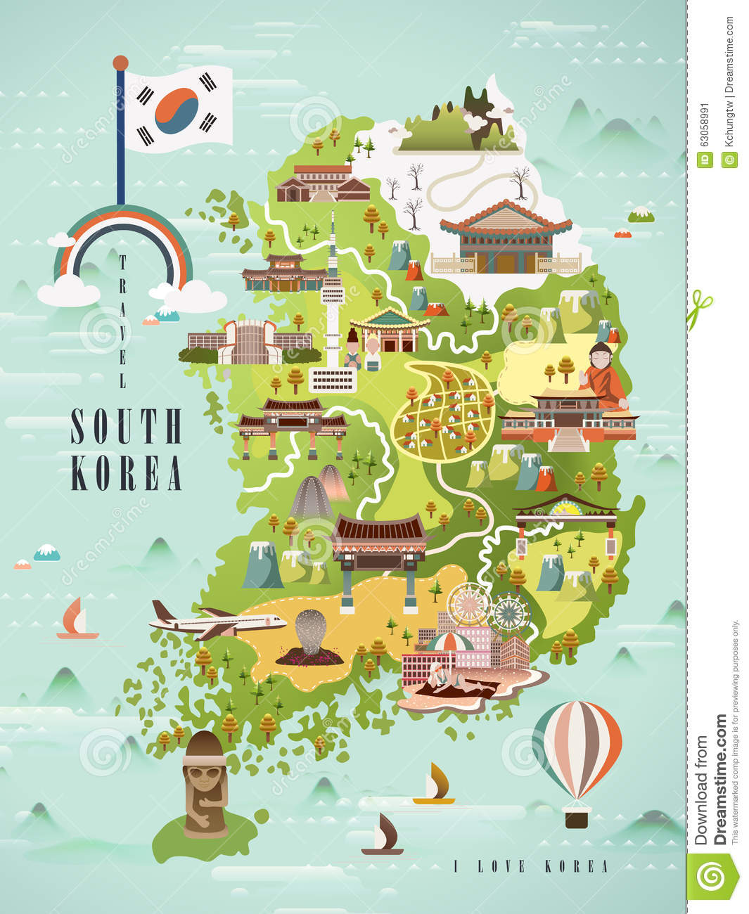 South Korea Travel Map Stock Vector Image - Map of south korea
