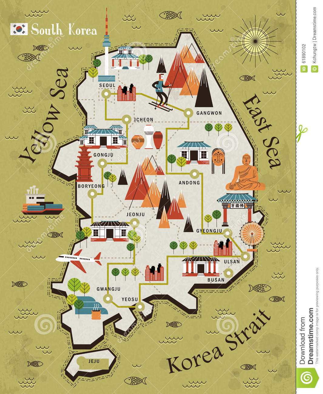 South Korea Travel Map Stock Vector Illustration Of Andong 61890102