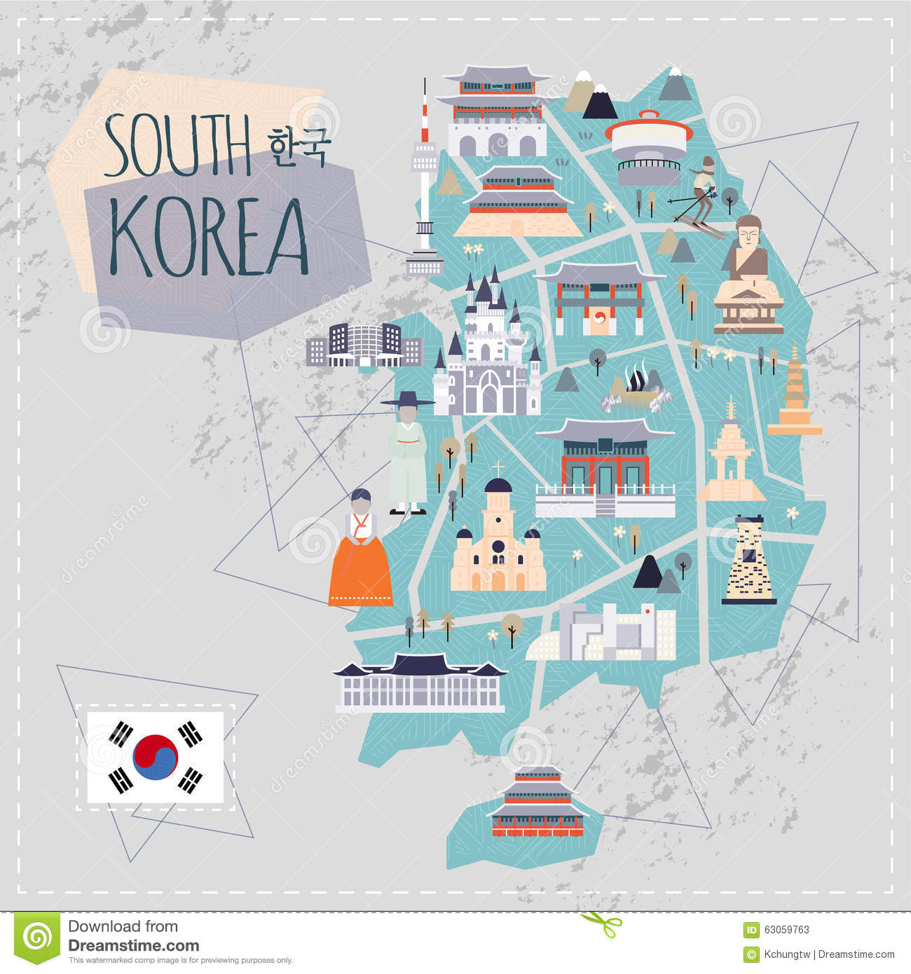 Map Of Upper Asia.South Korea Travel Map Stock Illustration Illustration Of Asia