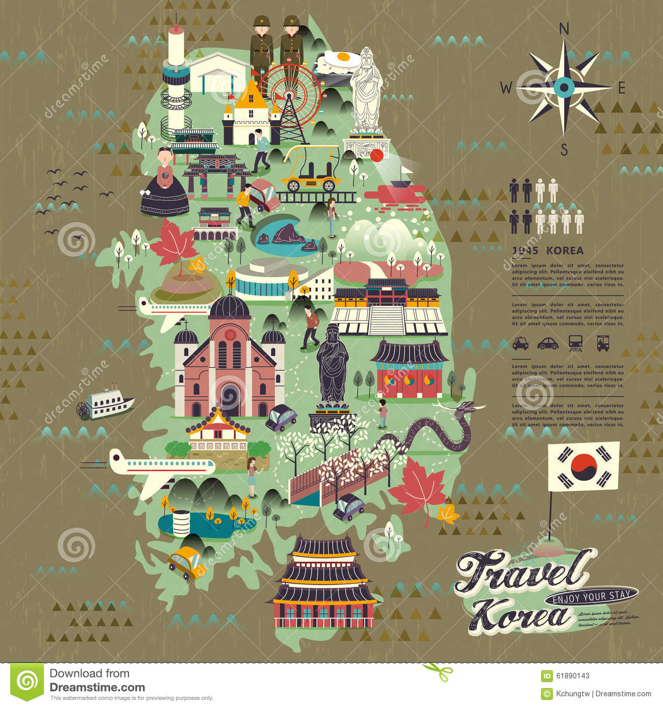 South Korea Travel Map Illustration 61890143 Megapixl