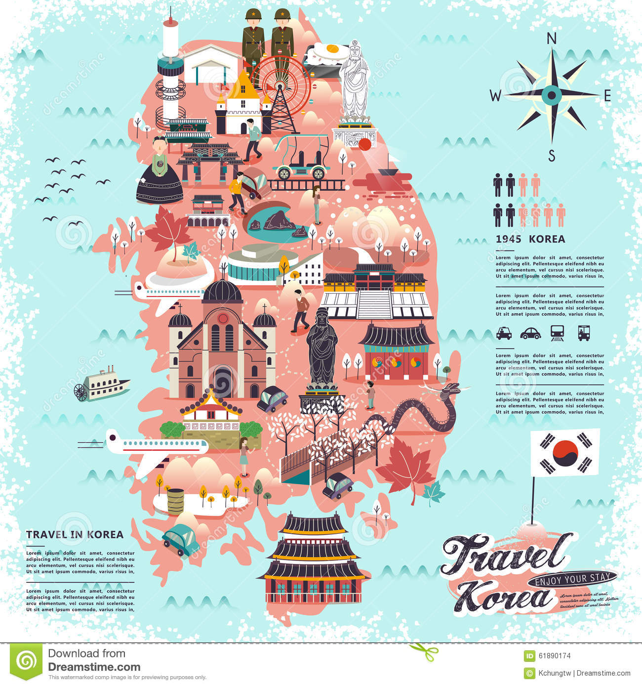 South korea travel map stock illustration illustration of korean download comp gumiabroncs Choice Image