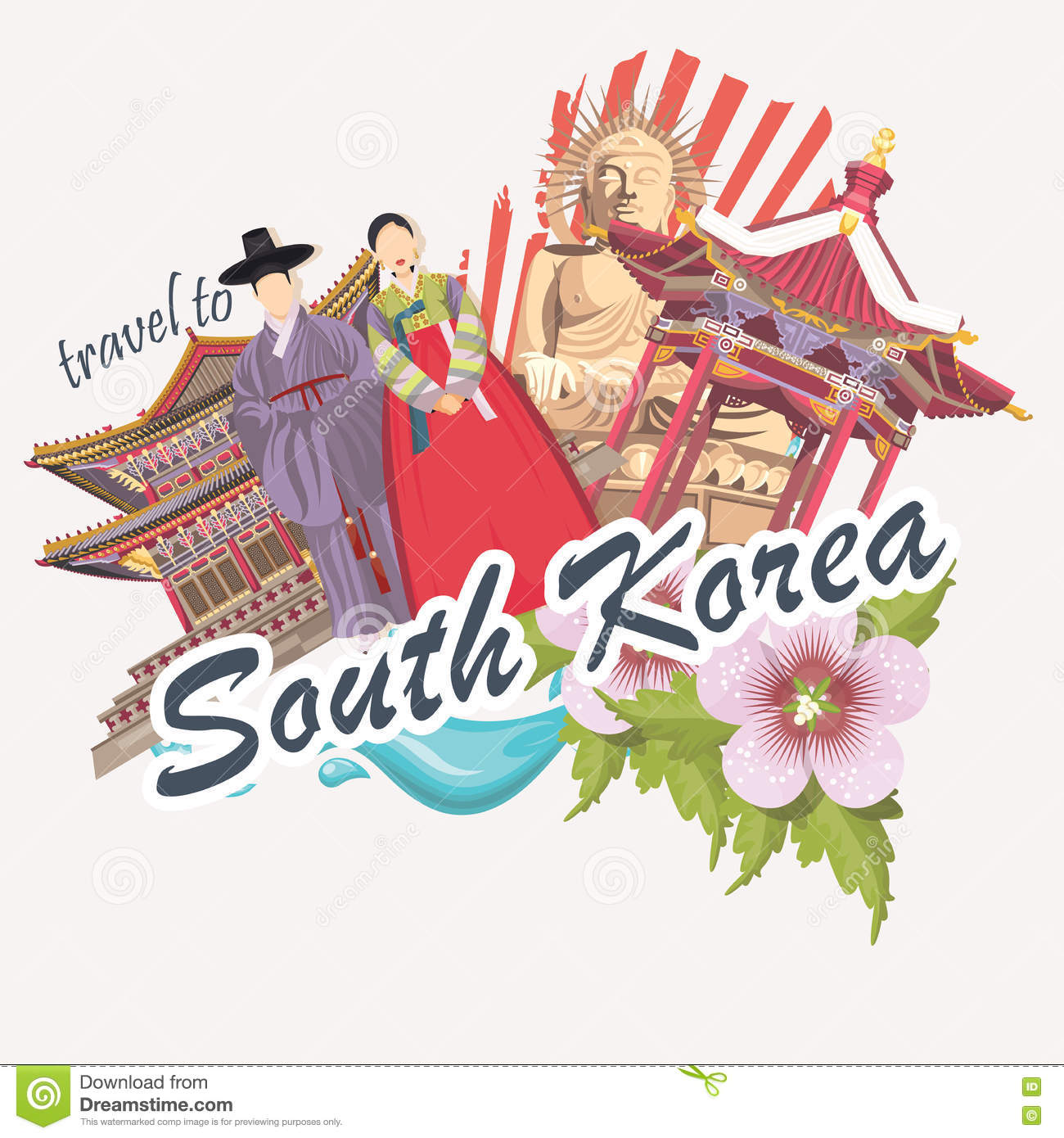 Korean poster design - South Korea Travel Poster With Flower Pagodas Tradition Clothes And Signs Korea Journey